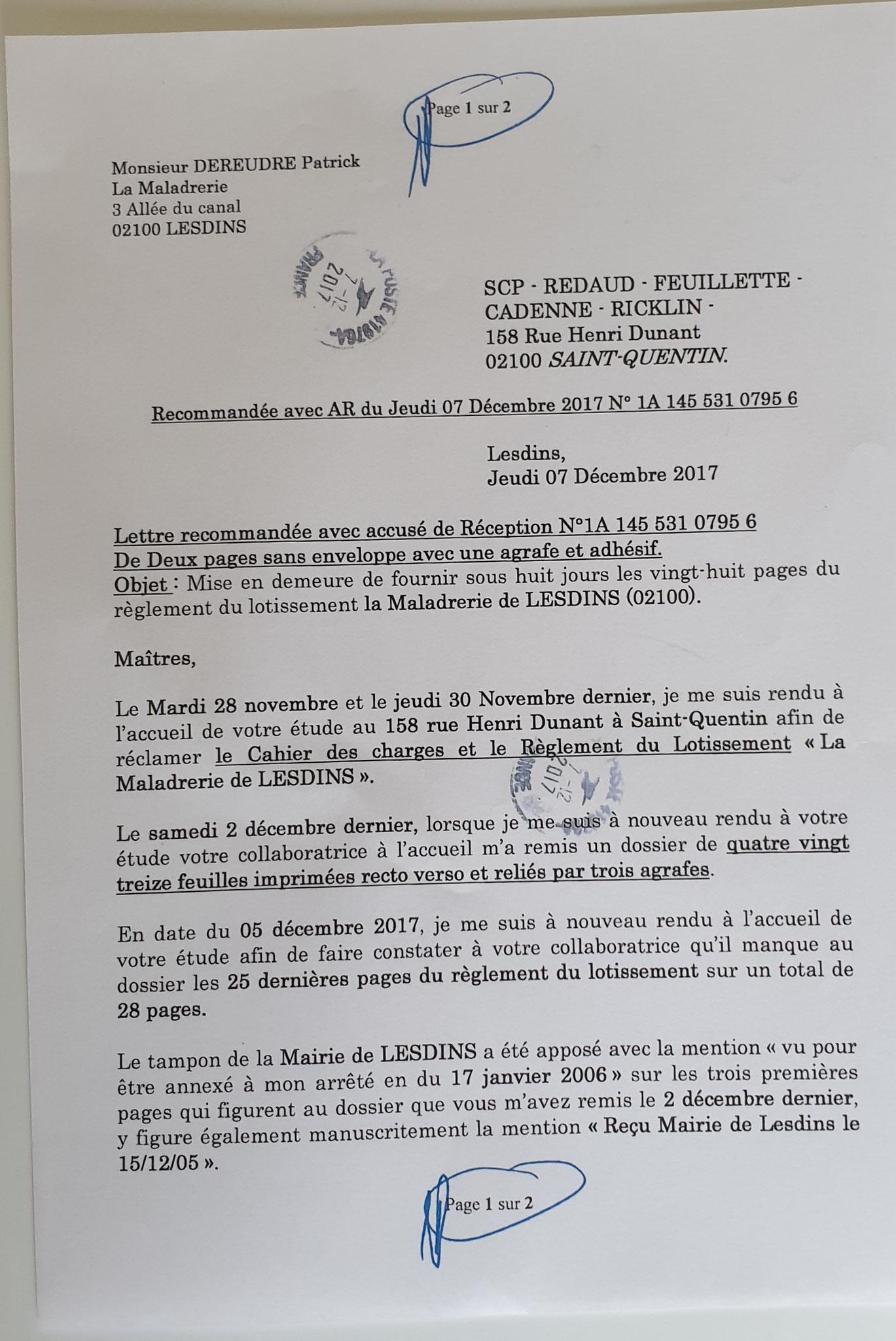 Le 07 décembre 2017 LRAR N0 1A 145 531 0795 6  (deux pages) www.jenesuispasunchien.fr www.jesuisvictime.fr www.jesuispatrick.fr