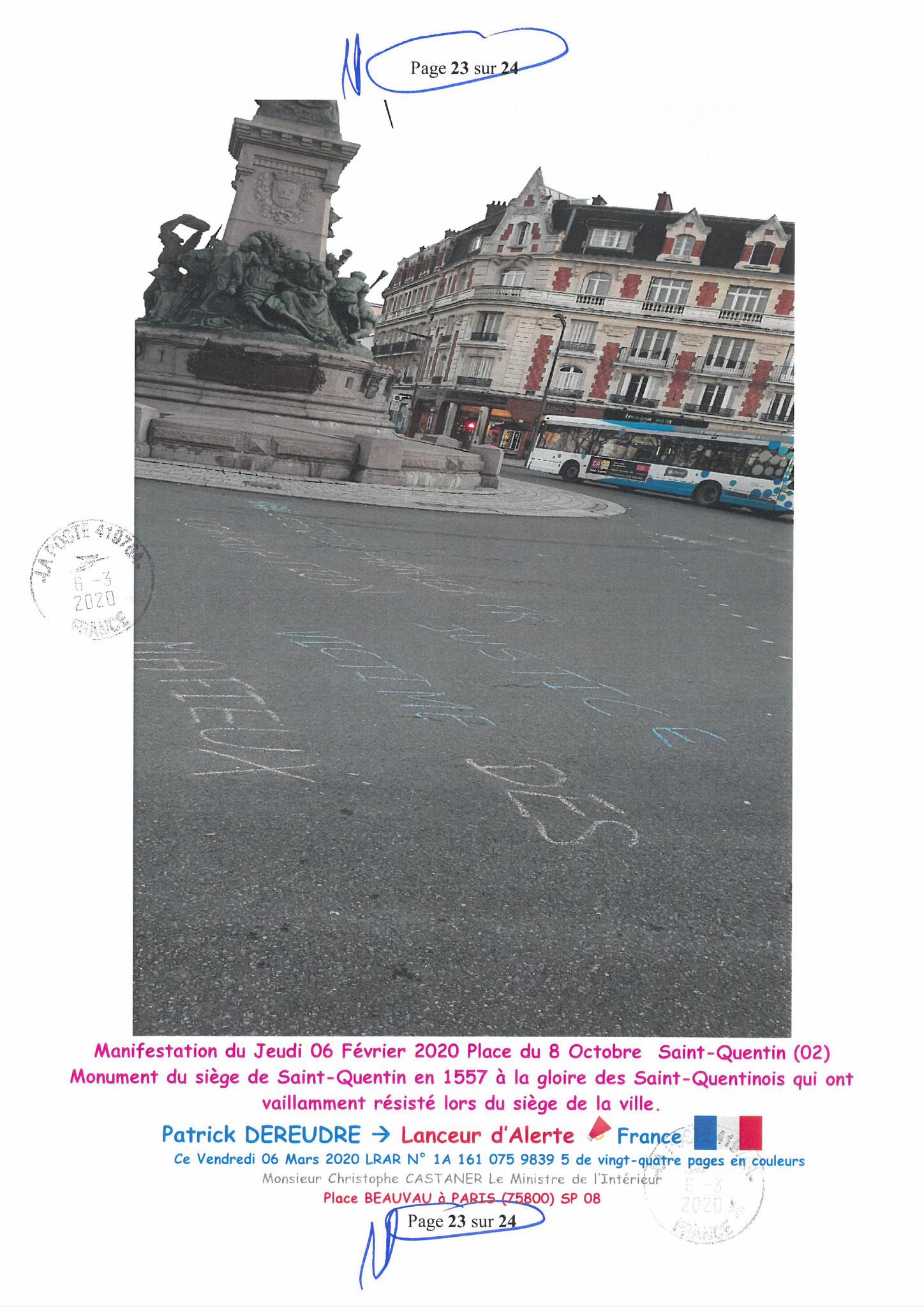 Ma LRAR à Monsieur le Ministre de l'Intérieur Christophe CASTANER N°1A 161 075 9839 5  Page 23 sur 24 en couleur du 06 Mars 2020  www.jesuispatrick.fr