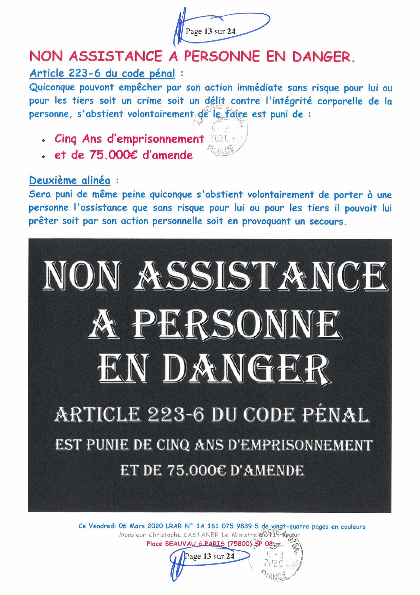 Ma LRAR à Monsieur le Ministre de l'Intérieur Christophe CASTANER N°1A 161 075 9839 5  Page 13 sur 24 en couleur du 06 Mars 2020  www.jesuispatrick.fr www.jesuisvictime.fr www.alerte-rouge-france.fr