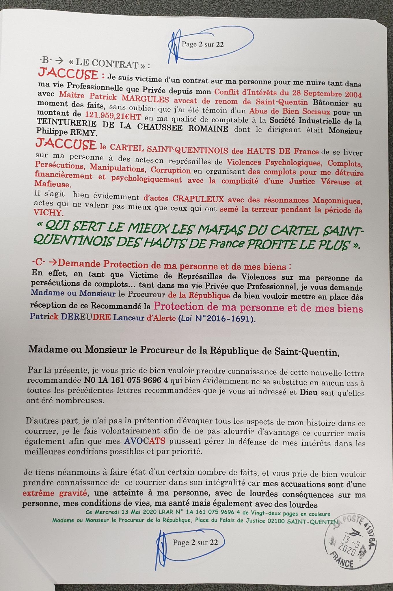 Page 2 sur 22 de ma plainte du 13 Mai 2020 auprès du Procureur de la République de Saint-Quentin à l'encontre des TAXIS VASSEUR SERVICES & salariés pour VIOLENCES EN BANDE ORGANISEE... www.jesuispatrick.fr