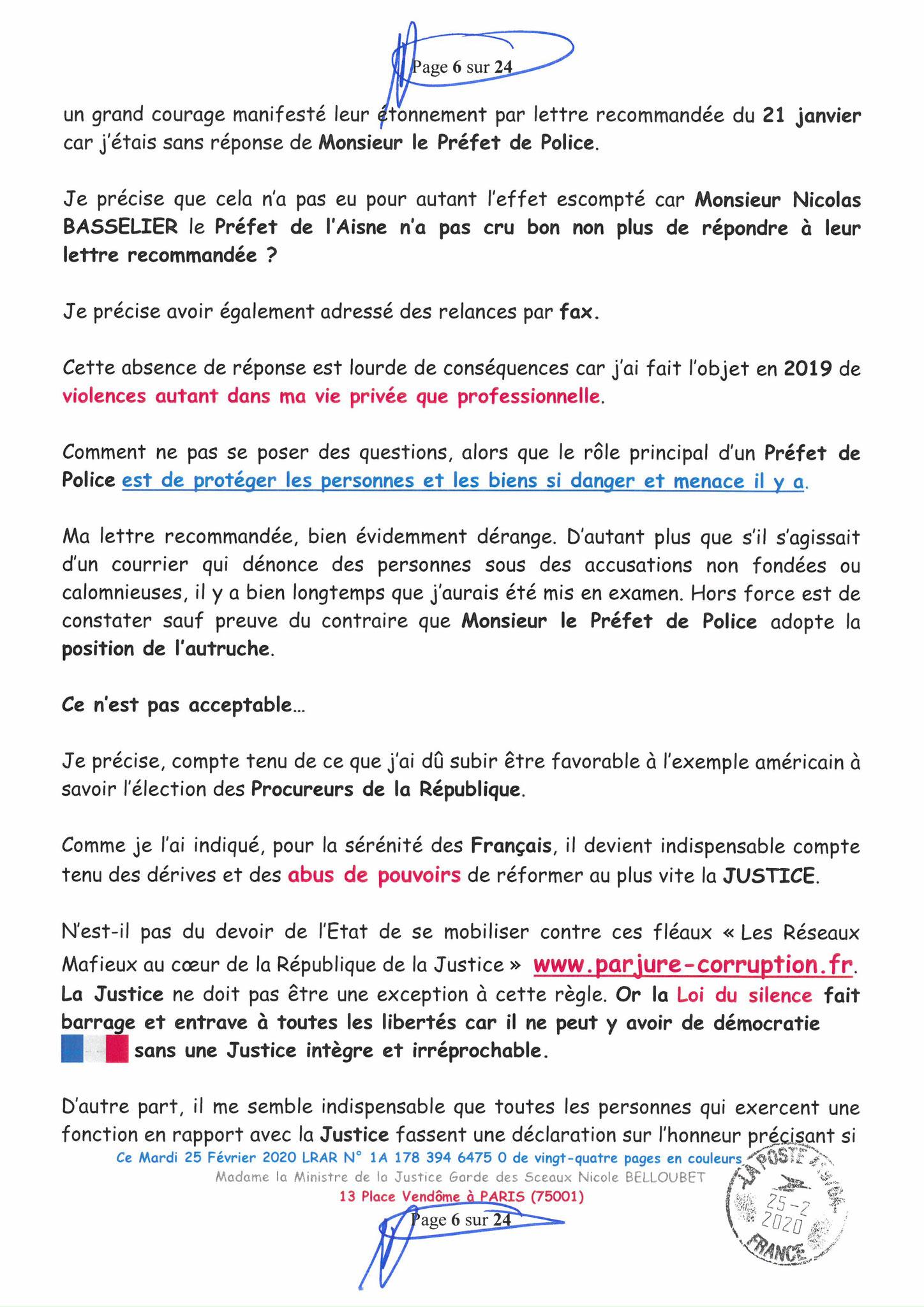 Ma LRAR à Madame Nicole BELLOUBET la Ministre de la Justice N0 1A 178 394 6475 0 Page 6 sur 24 en couleur  www.jesuispatrick.com www.jesuisvictime.fr www.alerte-rouge-france.fr