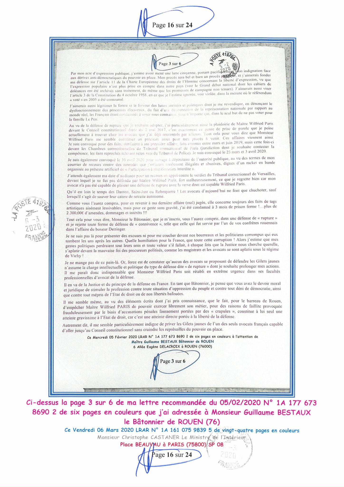 Ma LRAR à Monsieur le Ministre de l'Intérieur Christophe CASTANER N°1A 161 075 9839 5  Page 16 sur 24 en couleur du 06 Mars 2020  www.jesuispatrick.fr