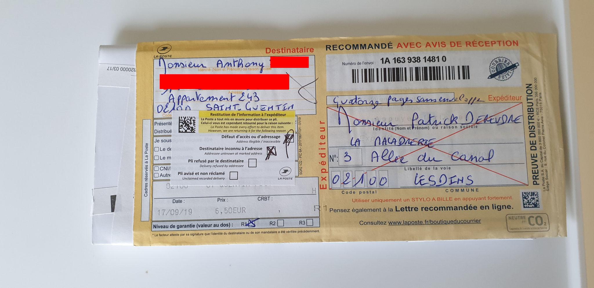 Ma première LRAR du 17 Septembre 2019 à Monsieur Anthony Standardiste CHEZ LES TAXIS VASSEUR SERVICES VIOLENCES & SOUFFRANCES AU TRAVAIL (MOBBING & GANG STAKLING) www.jenesuispasunchien.fr www.jesuisvictime.fr www.jesuispatrick.fr