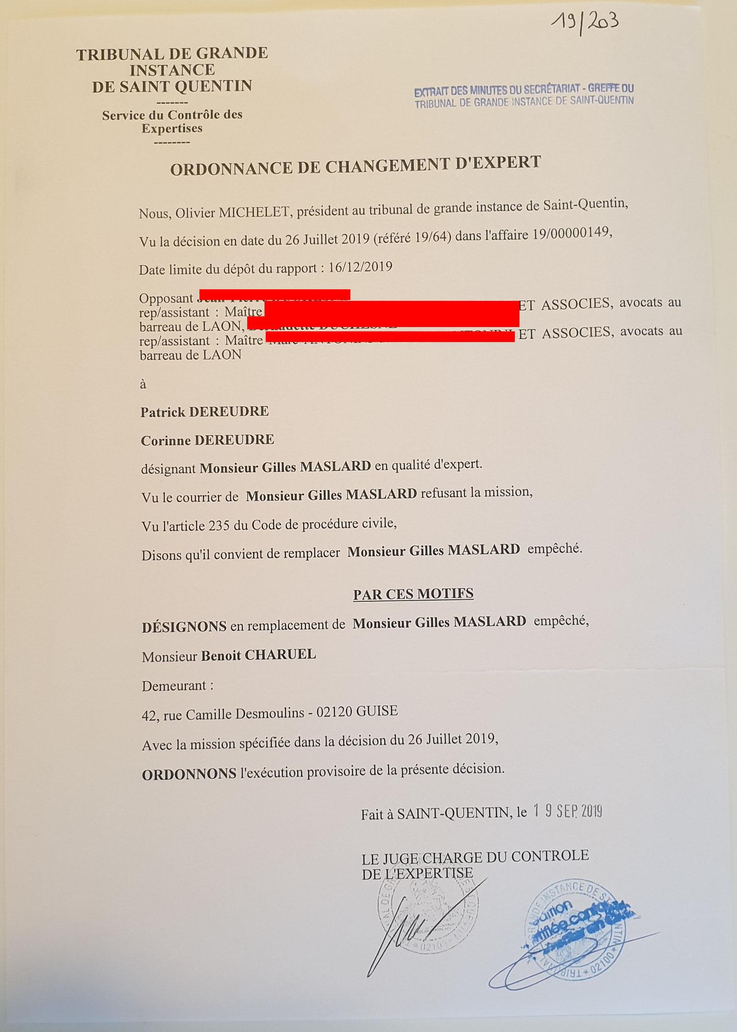 AFFAIRE JUDICIAIRE : MES CHERS VOISINS //LA VALSE DES EXPERTS orchestrée par le Tribunal de Grande Instance de Saint-Quentin