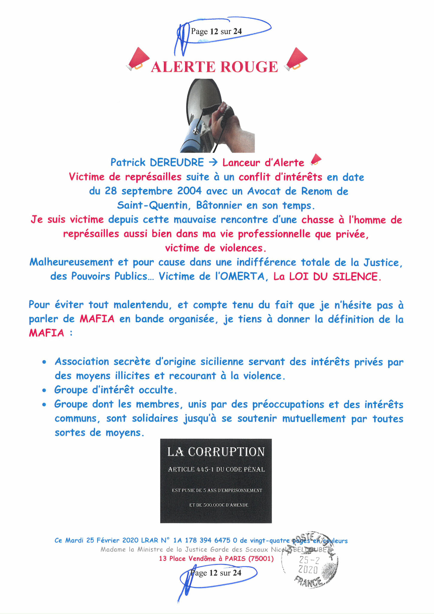 Ma LRAR à Madame Nicole BELLOUBET la Ministre de la Justice N0 1A 178 394 6475 0 Page 12 sur 24 en couleur  www.jesuispatrick.com www.jesuisvictime.fr www.alerte-rouge-france.fr