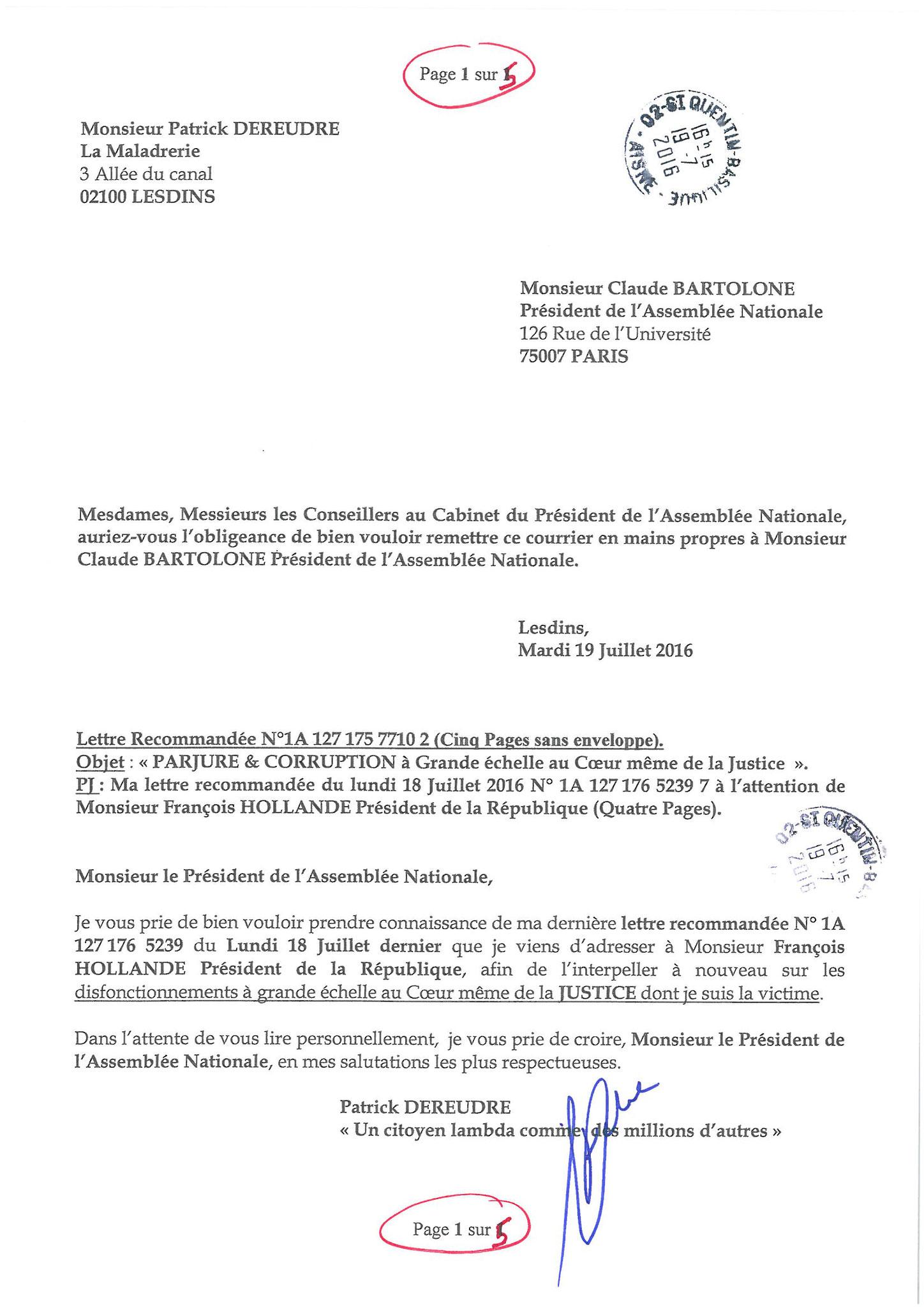 LRAR du 19 Juillet 2016 à Monsieur Claude BARTOLONE le Président de l'Assemblée Nationale 1 sur 5