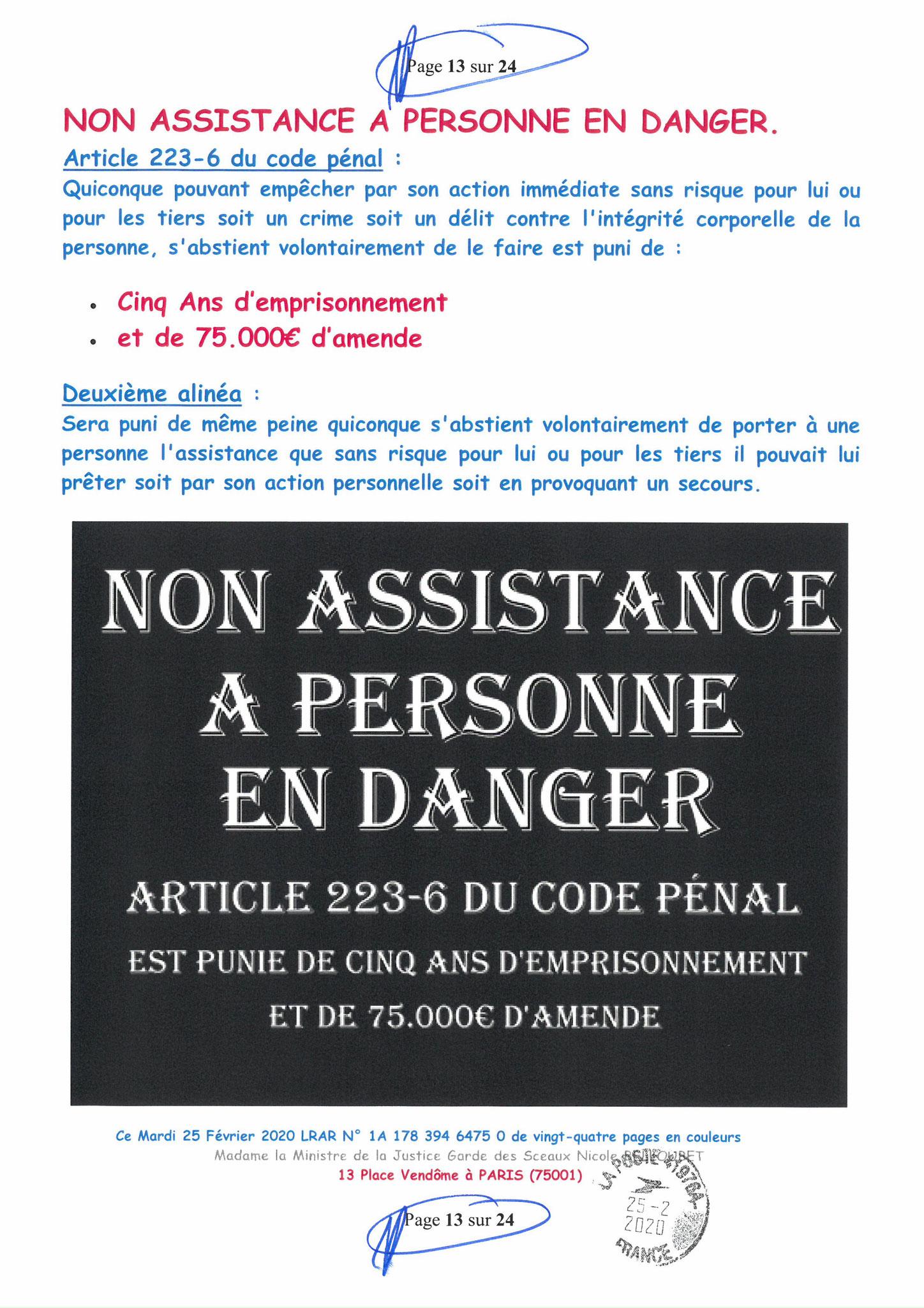 Ma LRAR à Madame Nicole BELLOUBET la Ministre de la Justice N0 1A 178 394 6475 0 Page 13 sur 24 en couleur  www.jesuispatrick.com www.jesuisvictime.fr www.alerte-rouge-france.fr
