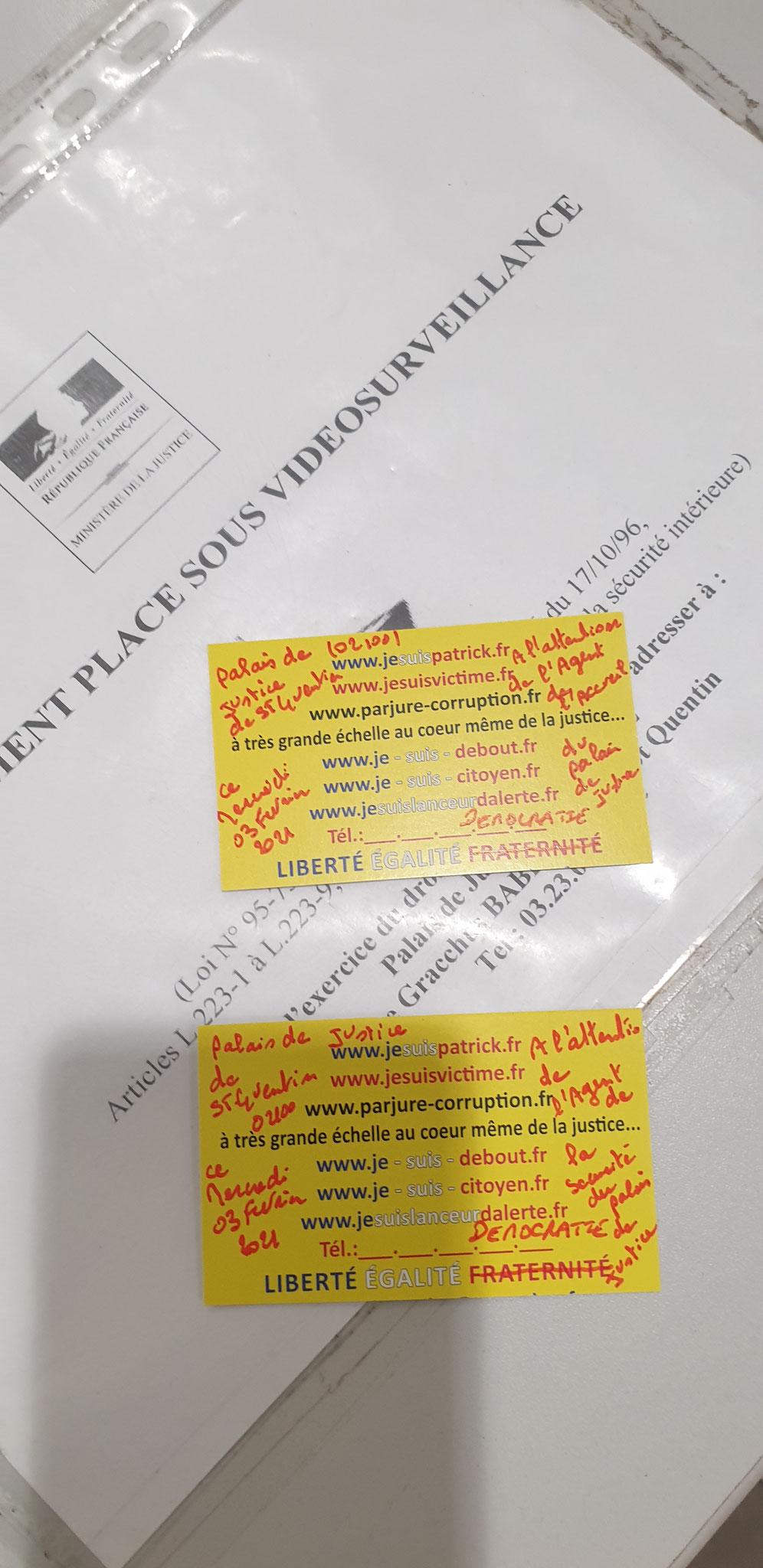 Le 03 Février 2021 je me présente à l'accueil afin de récupérer le document de décision prud'hommes je laisse ma carte de visite à l'accueil et à l'un des Agents de sécurité afin de prendre date www.jesuispatrick.fr
