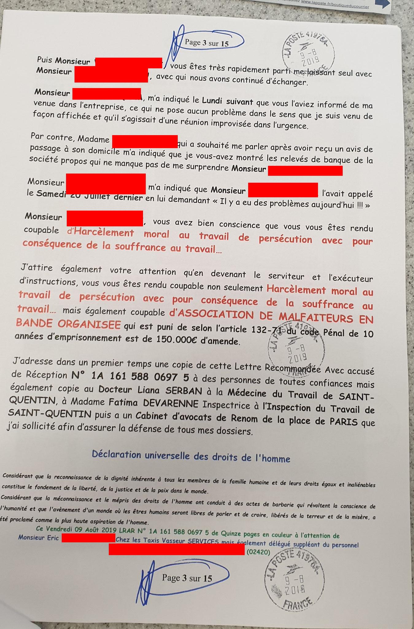 Ma lettre recommandée 09 Août 2019 adressée à un Chauffeur TAXI occasionnellement STANDARDISTE des TAXIS VASSEUR SERVICES // VIOLENCES & SOUFFRANCES AU TRAVAIL (MOBBING & GANG STAKLING) www.jenesuispasunchien.fr www.jesuisvictime.fr www.jesuispatrick.fr