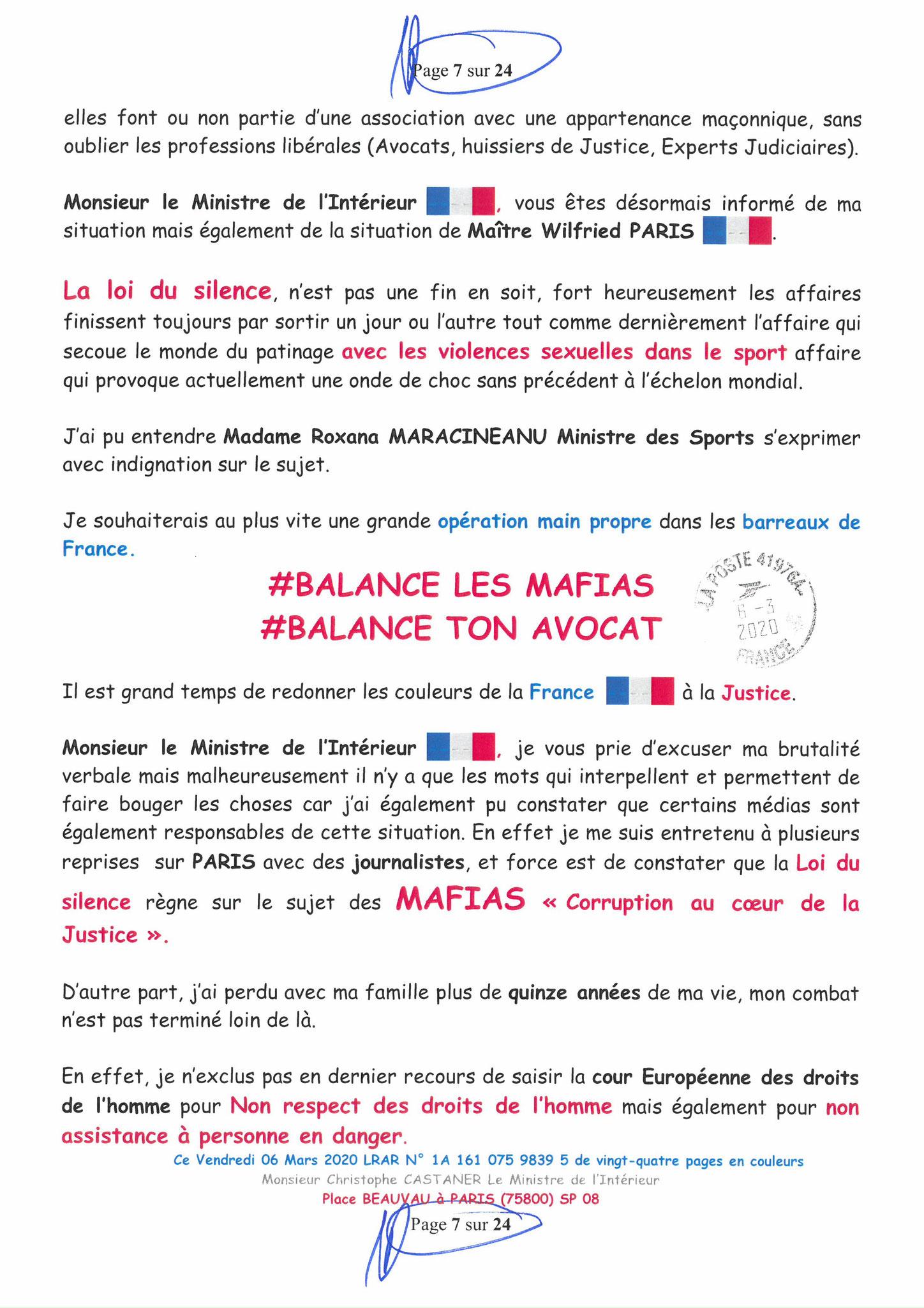 Ma LRAR à Monsieur le Ministre de l'Intérieur Christophe CASTANER N°1A 161 075 9839 5  Page 7 sur 24 en couleur du 06 Mars 2020  www.jesuispatrick.fr