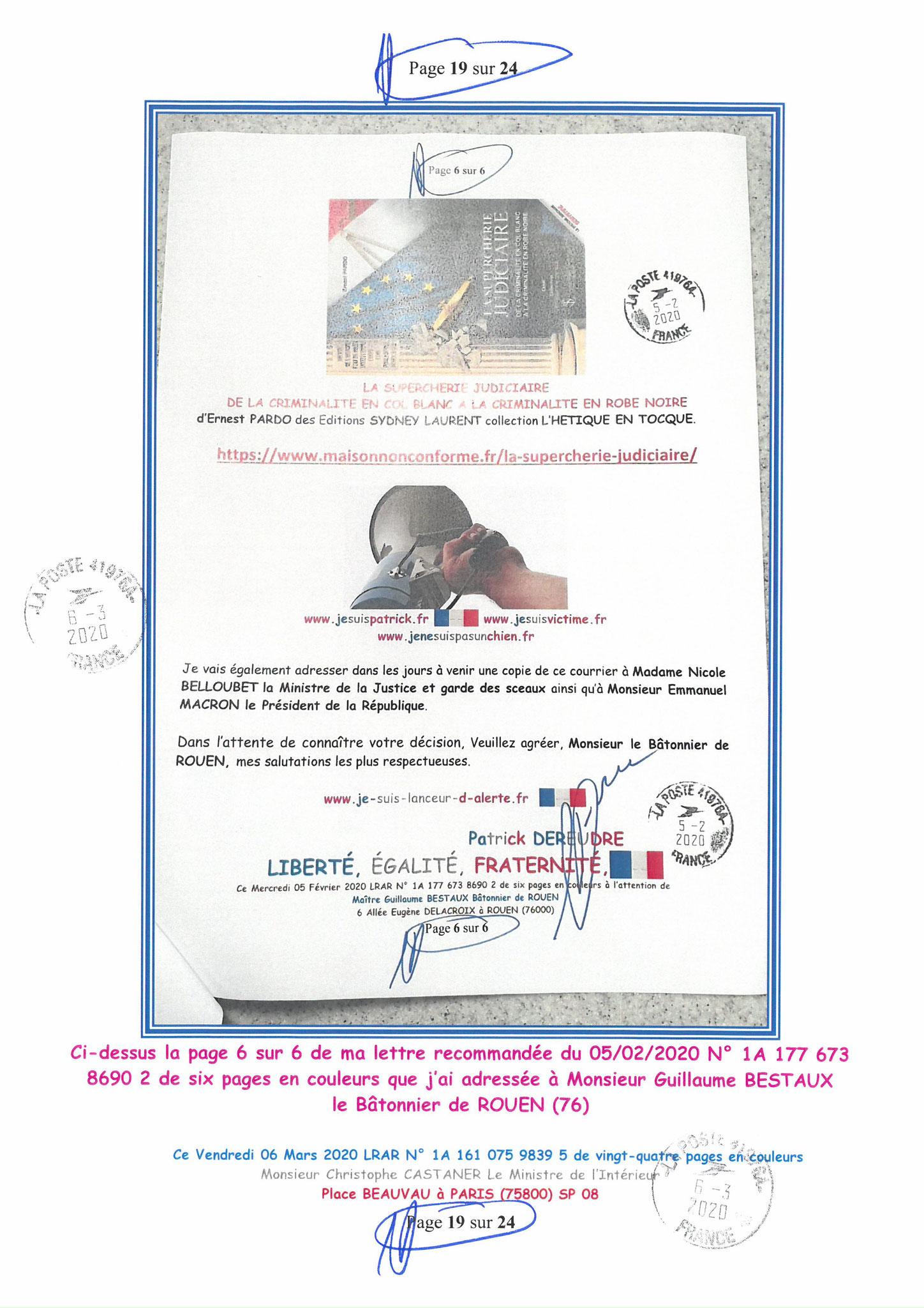 Ma LRAR à Monsieur le Ministre de l'Intérieur Christophe CASTANER N°1A 161 075 9839 5  Page 19 sur 24 en couleur du 06 Mars 2020  www.jesuispatrick.fr