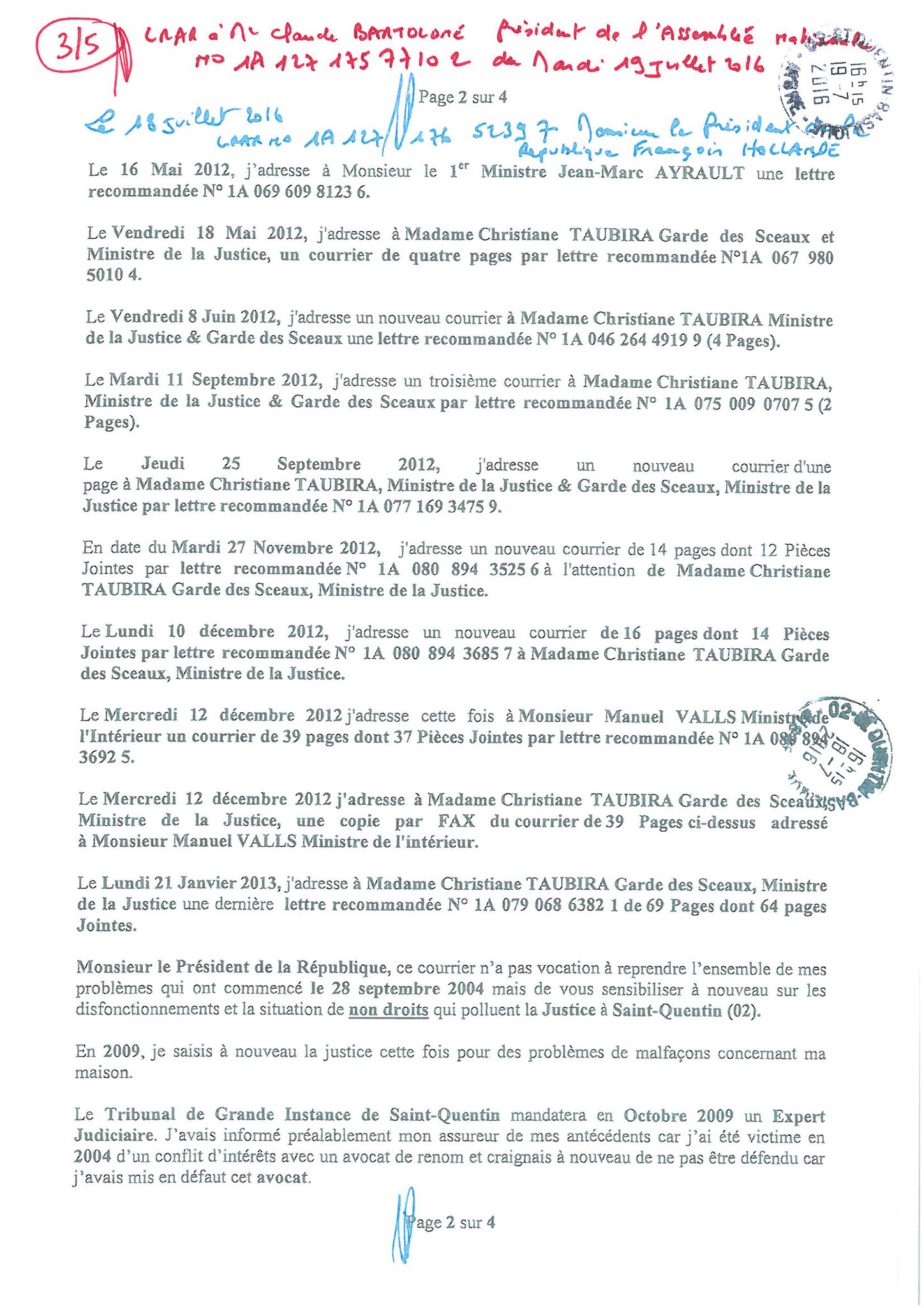 LRAR du 19 Juillet 2016 à Monsieur Claude BARTOLONE le Président de l'Assemblée Nationale 3 sur 5