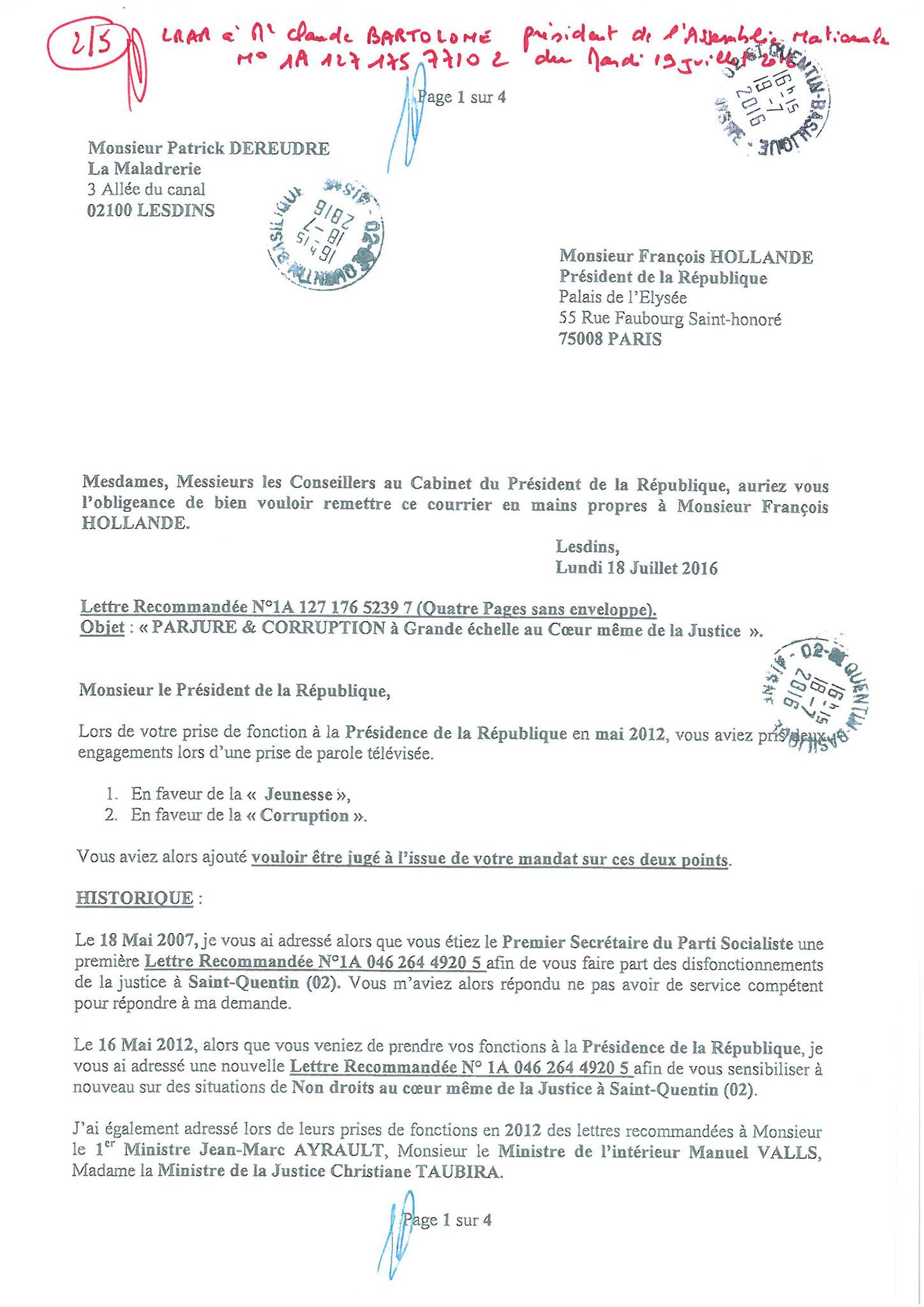 LRAR du 19 Juillet 2016 à Monsieur Claude BARTOLONE le Président de l'Assemblée Nationale 2 sur 5