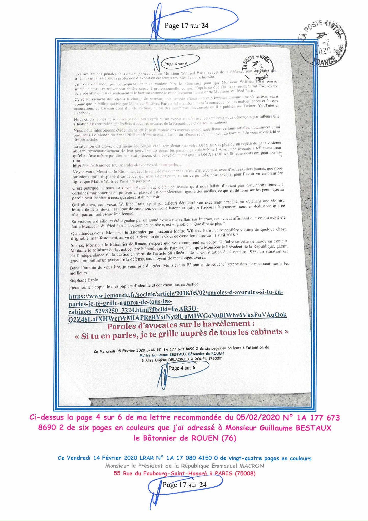 Ma lettre recommandée du 14 Février 2020 N° 1A 178 082 4150 0  page  17 sur 24 en couleur que j'ai adressé à Monsieur Emmanuel MACRON le Président de la République www.jesuispatrick.fr