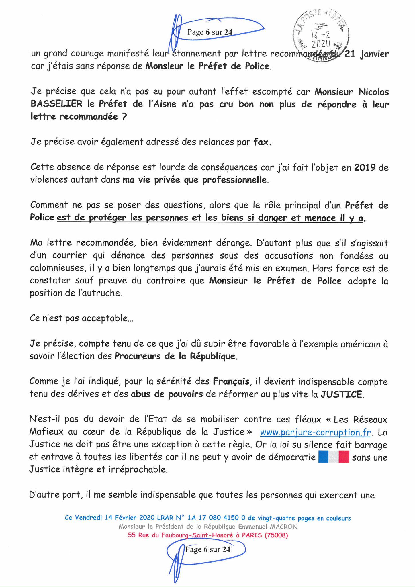 Ma lettre recommandée du 14 Février 2020 N° 1A 178 082 4150 0  page 6 sur 24 en couleur que j'ai adressé à Monsieur Emmanuel MACRON le Président de la République www.jesuispatrick.fr www.jesuisvictime.fr www.alerte-rouge-france.fr