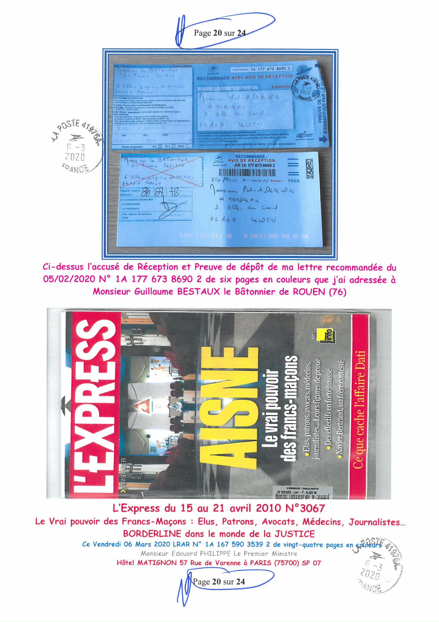 Ma LRAR à Monsieur le  Premier Ministre Edouard PHILIPPE N° 1A 167 590 3539 2 Page 20 sur 24 en Couleur du 06 Mars 2020  www.jesuispatrick.fr