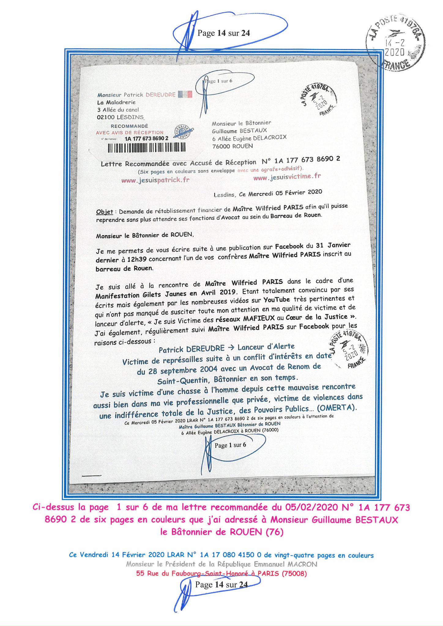 Ma lettre recommandée du 14 Février 2020 N° 1A 178 082 4150 0  page 14 sur 24 en couleur que j'ai adressé à Monsieur Emmanuel MACRON le Président de la République www.jesuispatrick.fr