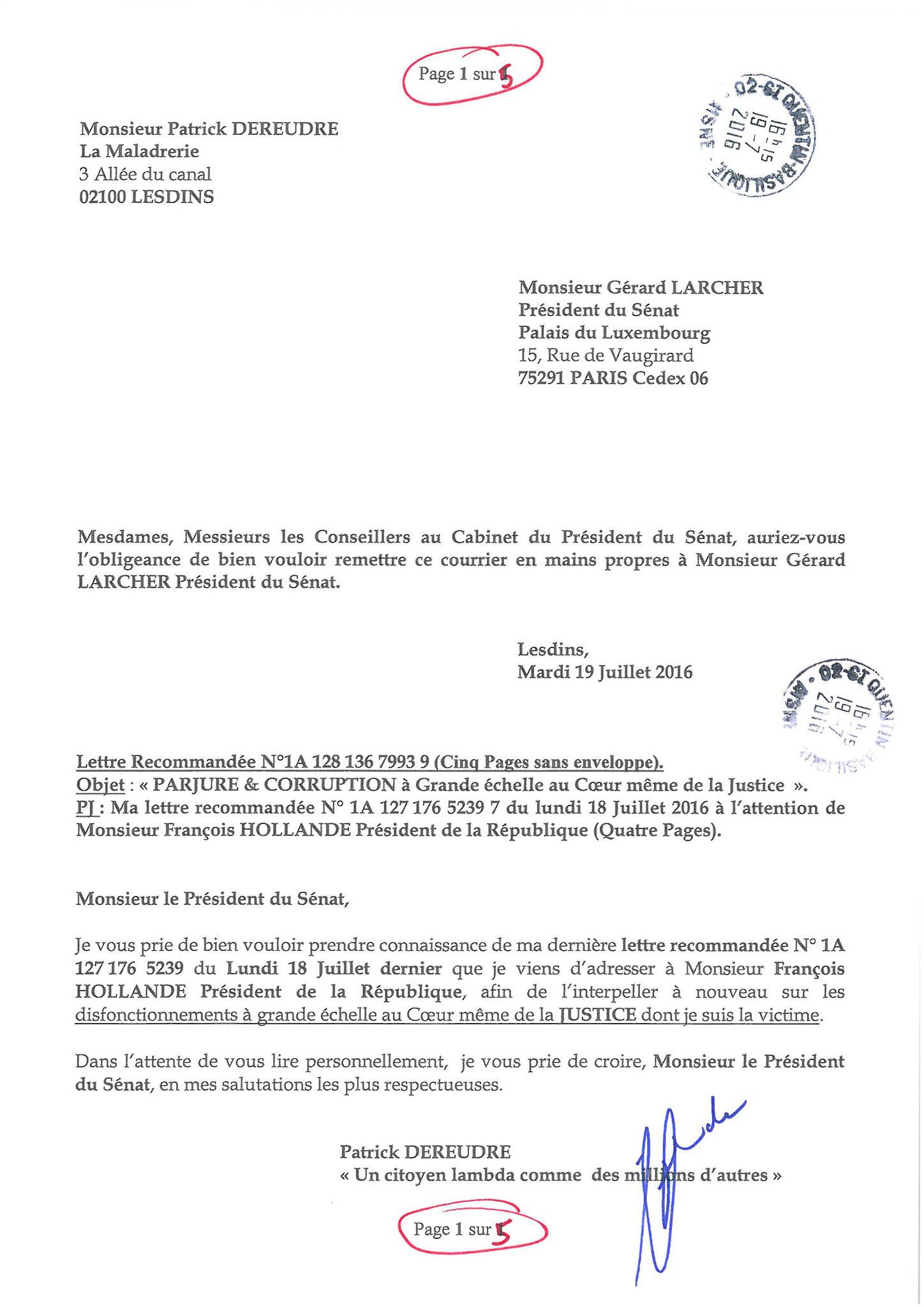 LRAR du 19 Juillet 2016 à Monsieur Gérard LARCHER le Président du Sénat page 1 sur 5
