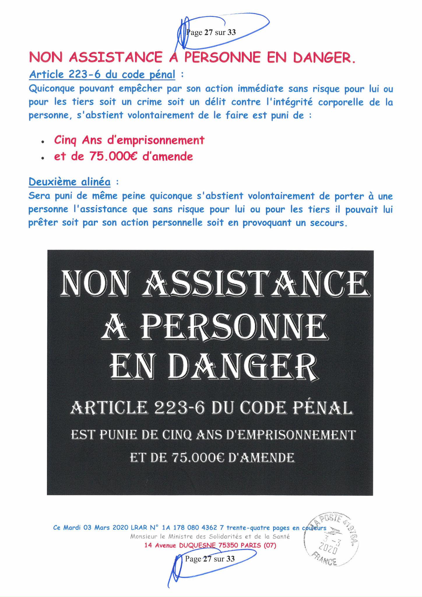 Page 27 sur 33 Ma lettre recommandée N0 1A 178 080 4362 7 du 03 Mars 2020 à Monsieur Olivier VERAN le Ministre de la Santé et des Solidarités www.jesuispatrick.fr