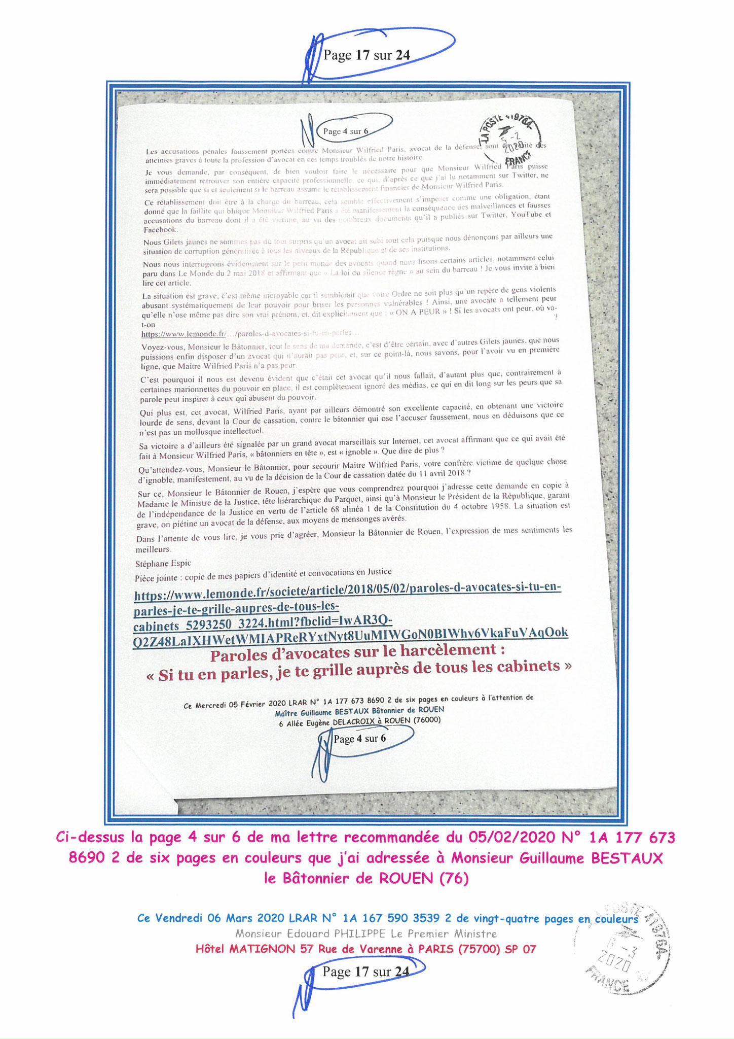Ma LRAR à Monsieur le  Premier Ministre Edouard PHILIPPE N° 1A 167 590 3539 2 Page 17 sur 24 en Couleur du 06 Mars 2020  www.jesuispatrick.fr
