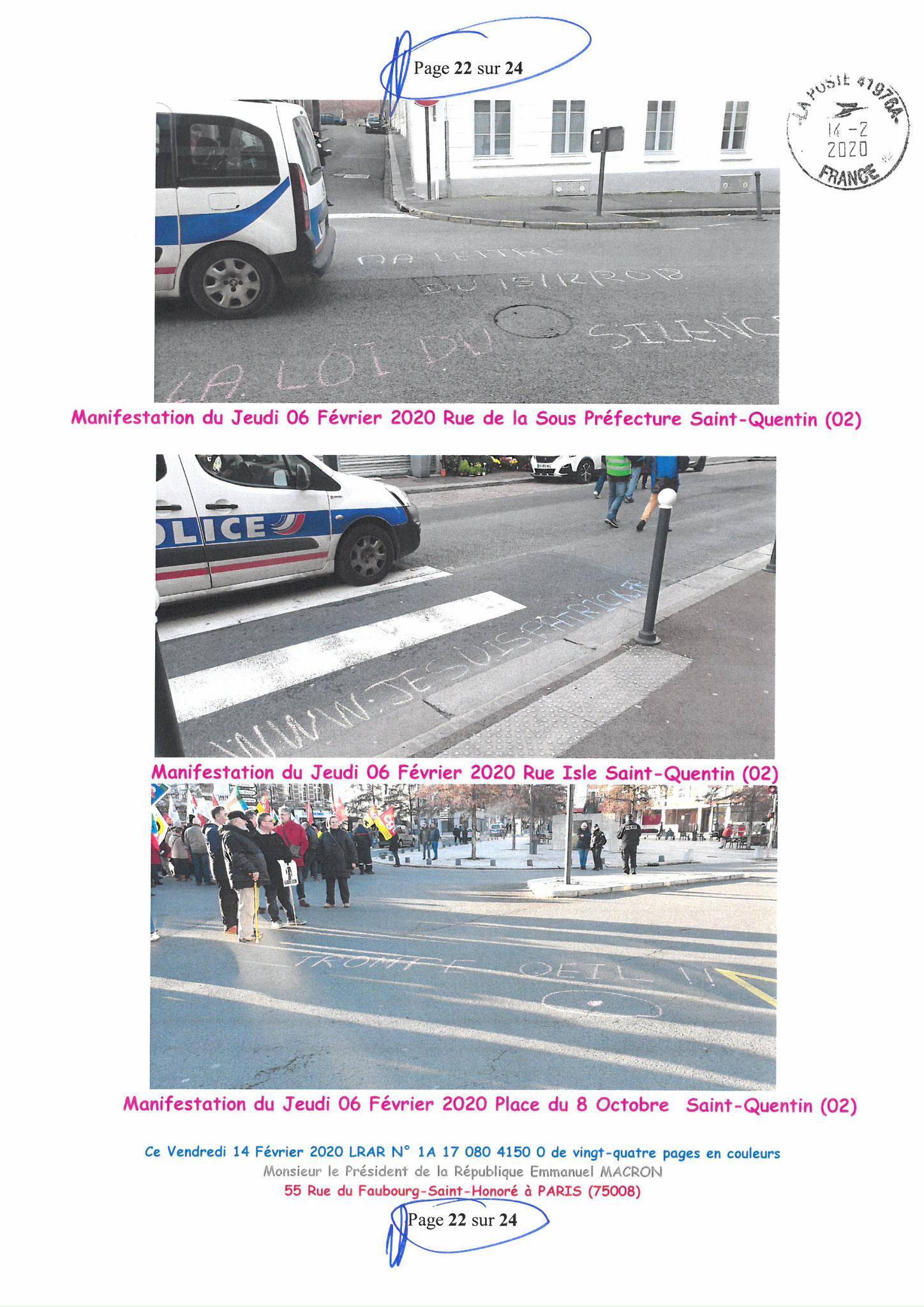 Ma lettre recommandée du 14 Février 2020 N° 1A 178 082 4150 0  page 22 sur 24 en couleur que j'ai adressé à Monsieur Emmanuel MACRON le Président de la République www.jesuispatrick.fr www.jesuisvictime.fr www.alerte-rouge-france.fr