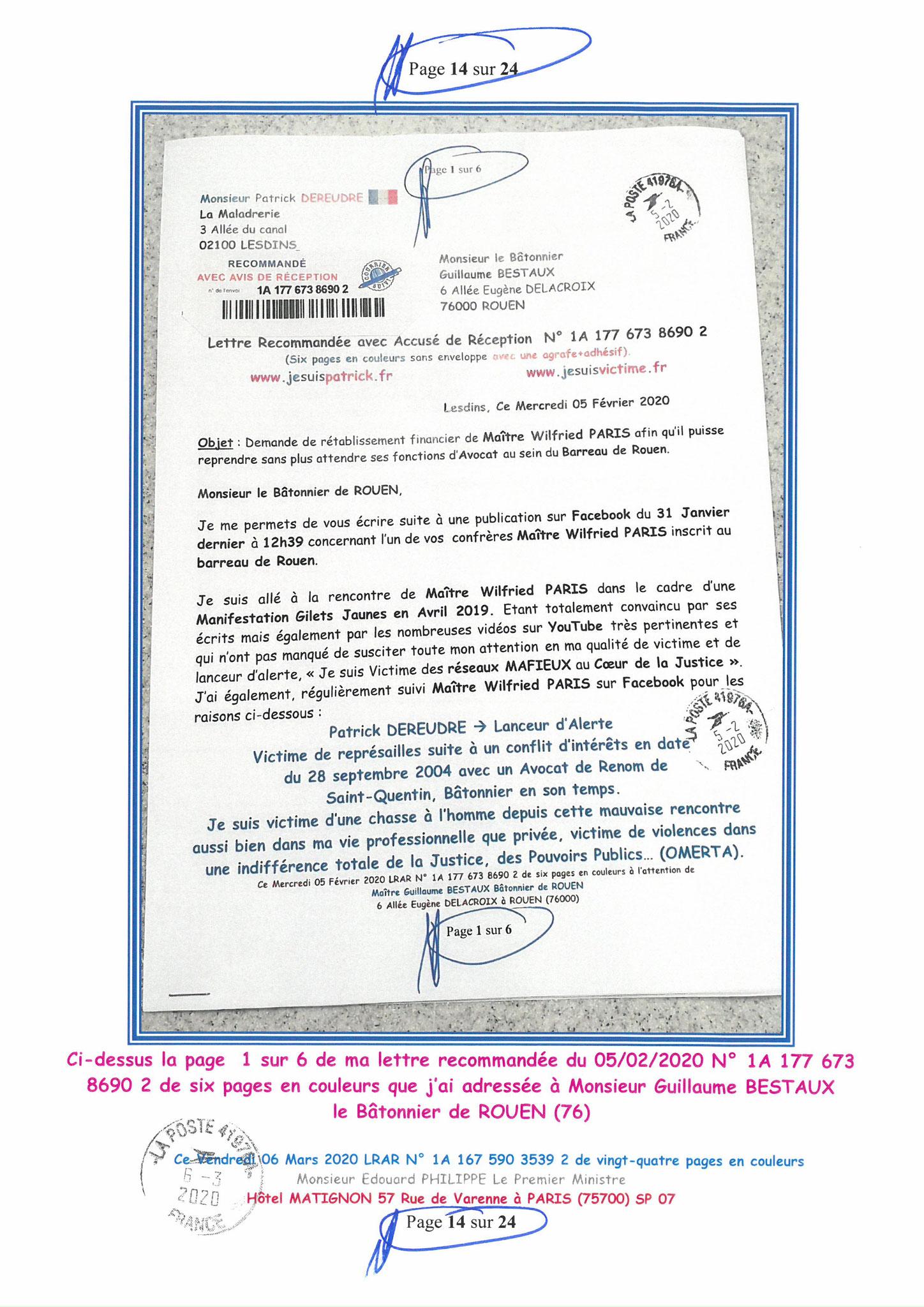 Ma LRAR à Monsieur le  Premier Ministre Edouard PHILIPPE N° 1A 167 590 3539 2 Page 14 sur 24 en Couleur du 06 Mars 2020  www.jesuispatrick.fr