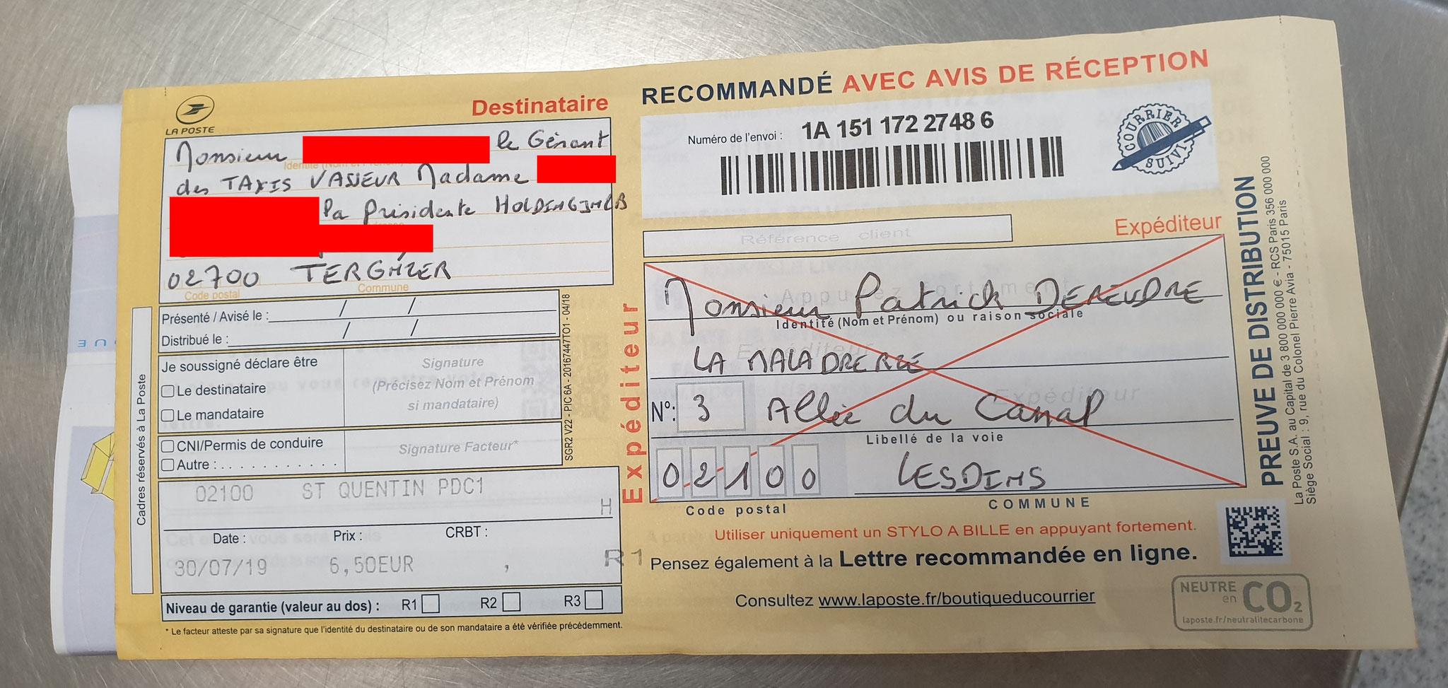 Ma Première lettre recommandée du 30 Juillet 2019 au TAXIS VASSEUR SERVICES & HOLDING JNLB// VIOLENCES & SOUFFRANCES AU TRAVAIL (MOBBING & GANG STAKLING) www.jenesuispasunchien.fr www.jesuisvictime.fr www.jesuispatrick.fr