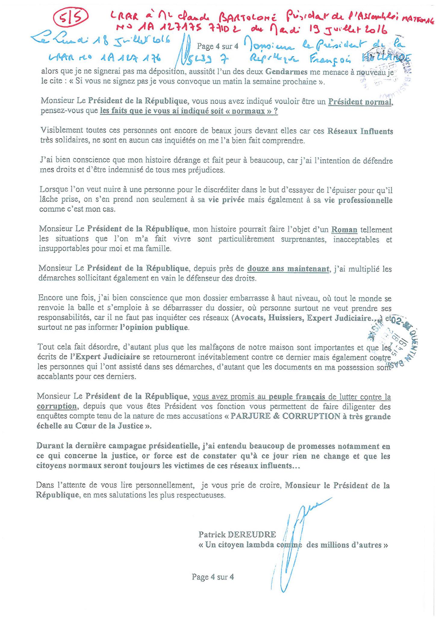 LRAR du 19 Juillet 2016 à Monsieur Claude BARTOLONE le Président de l'Assemblée Nationale 4 sur 5