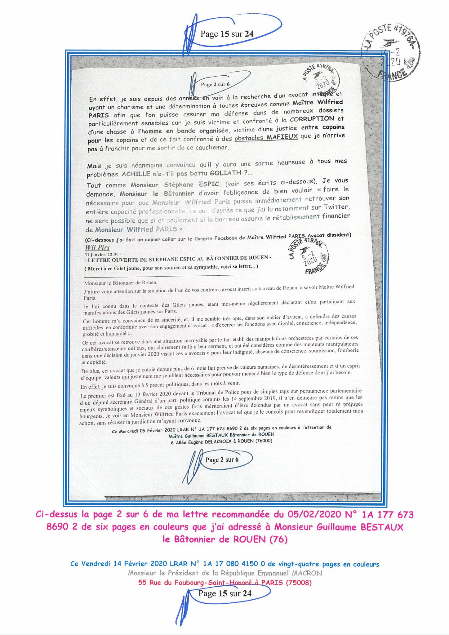 Ma lettre recommandée du 14 Février 2020 N° 1A 178 082 4150 0  page 15 sur 24 en couleur que j'ai adressé à Monsieur Emmanuel MACRON le Président de la République www.jesuispatrick.fr