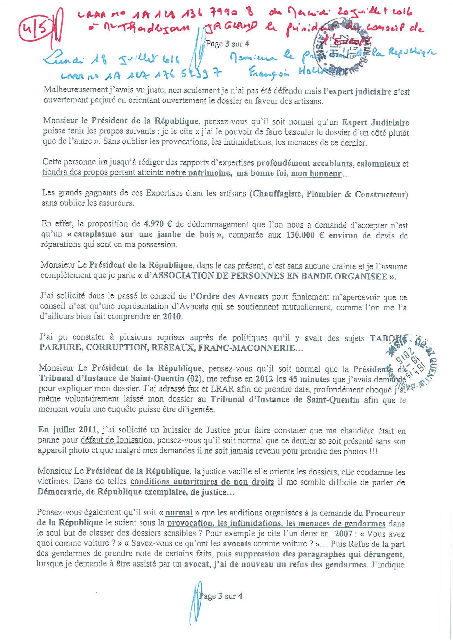 LRAR du 20 Juillet 2016 à Monsieur Thordjorn JAGLAND le Secrétaire Général du Conseil de l'Europe page 4 sur 5