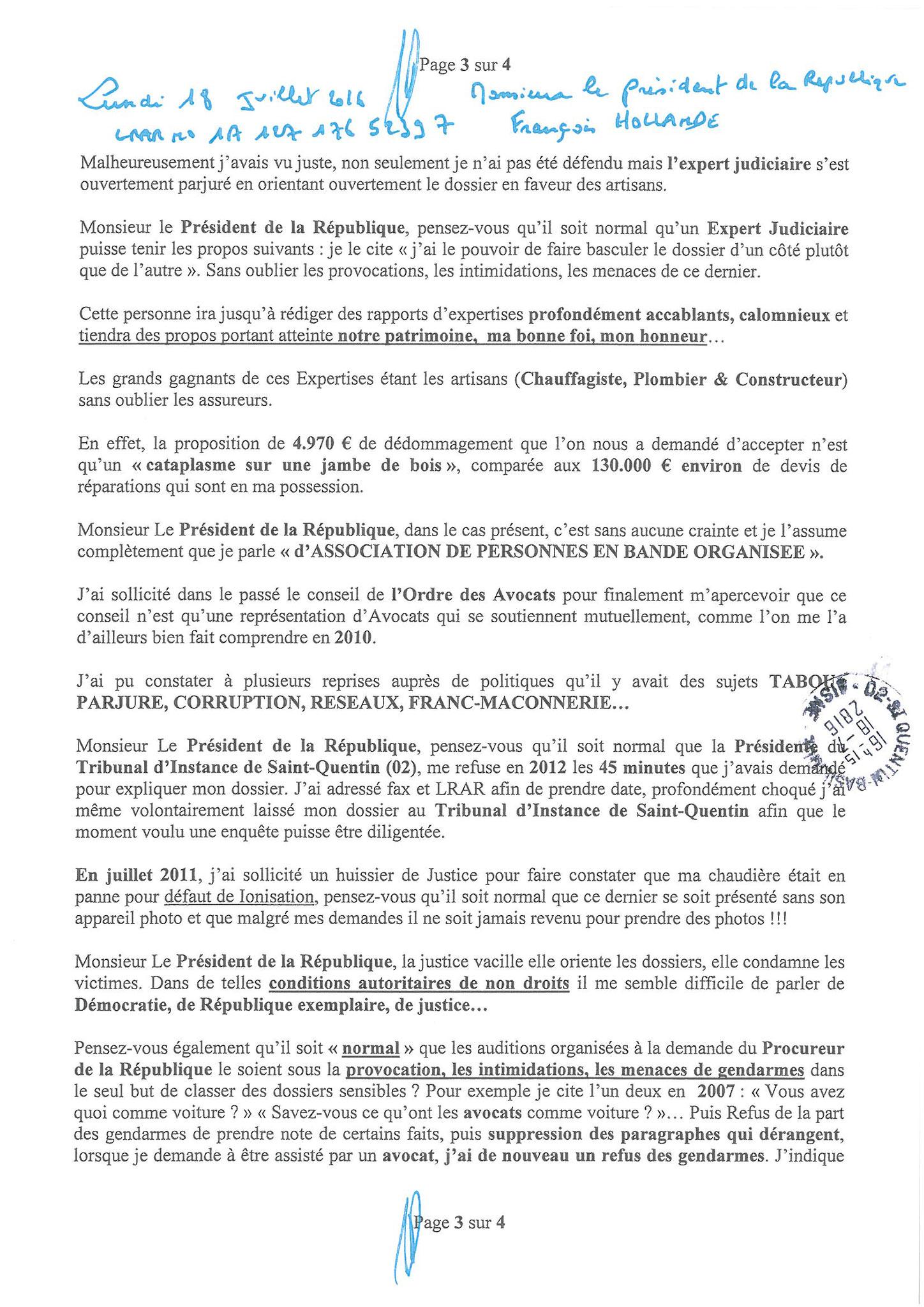 LRAR  du 18 Juillet 2016 à Monsieur François HOLLANDE Président de la République page 3 sur 4