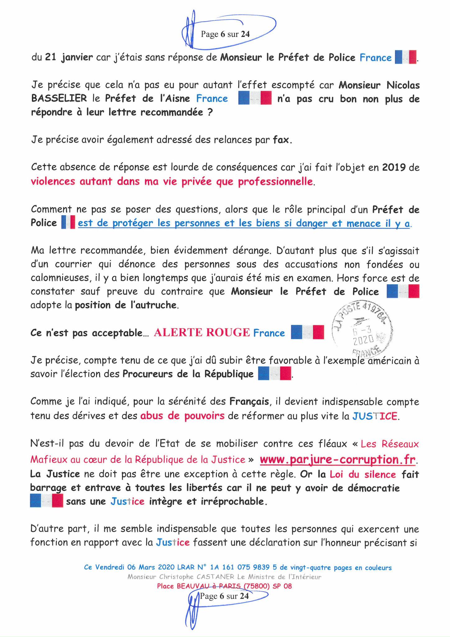 Ma LRAR à Monsieur le Ministre de l'Intérieur Christophe CASTANER N°1A 161 075 9839 5  Page 6 sur 24 en couleur du 06 Mars 2020  www.jesuispatrick.fr