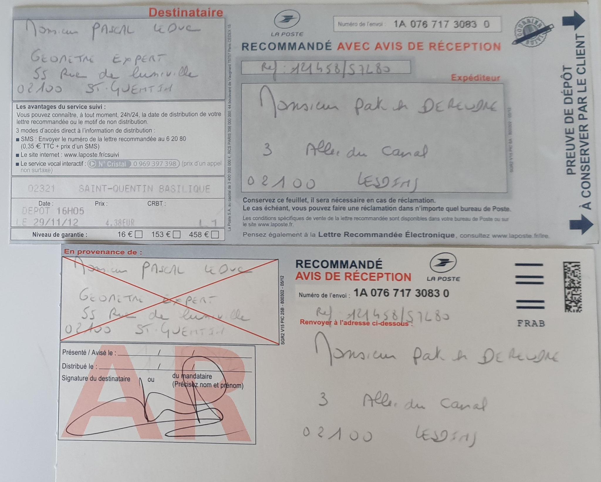 Le 29 Novembre 2012 j'adresse une lettre recommandé à Monsieur l'Expert Géomètre Thierry LEDUC. BORDERLINE  C'est INACCEPTABLE wwwjesuisvictime.fr www.jesuispatrick.fr