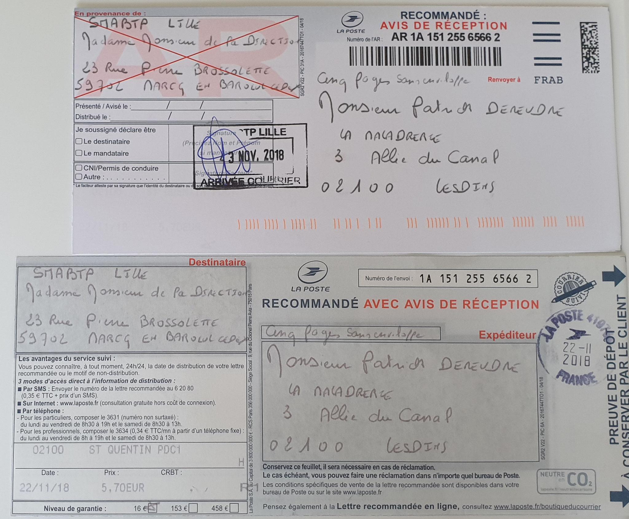 Le 22 Novembre 2018 j'adresse une cinquième LRAR N0 1A 151 255 6566 2 à SMABTP (Cinq pages) www.jenesuispasunchien.fr www.jesuisvictime.fr www.jesuispatrick.fr PARJURE & CORRUPTION