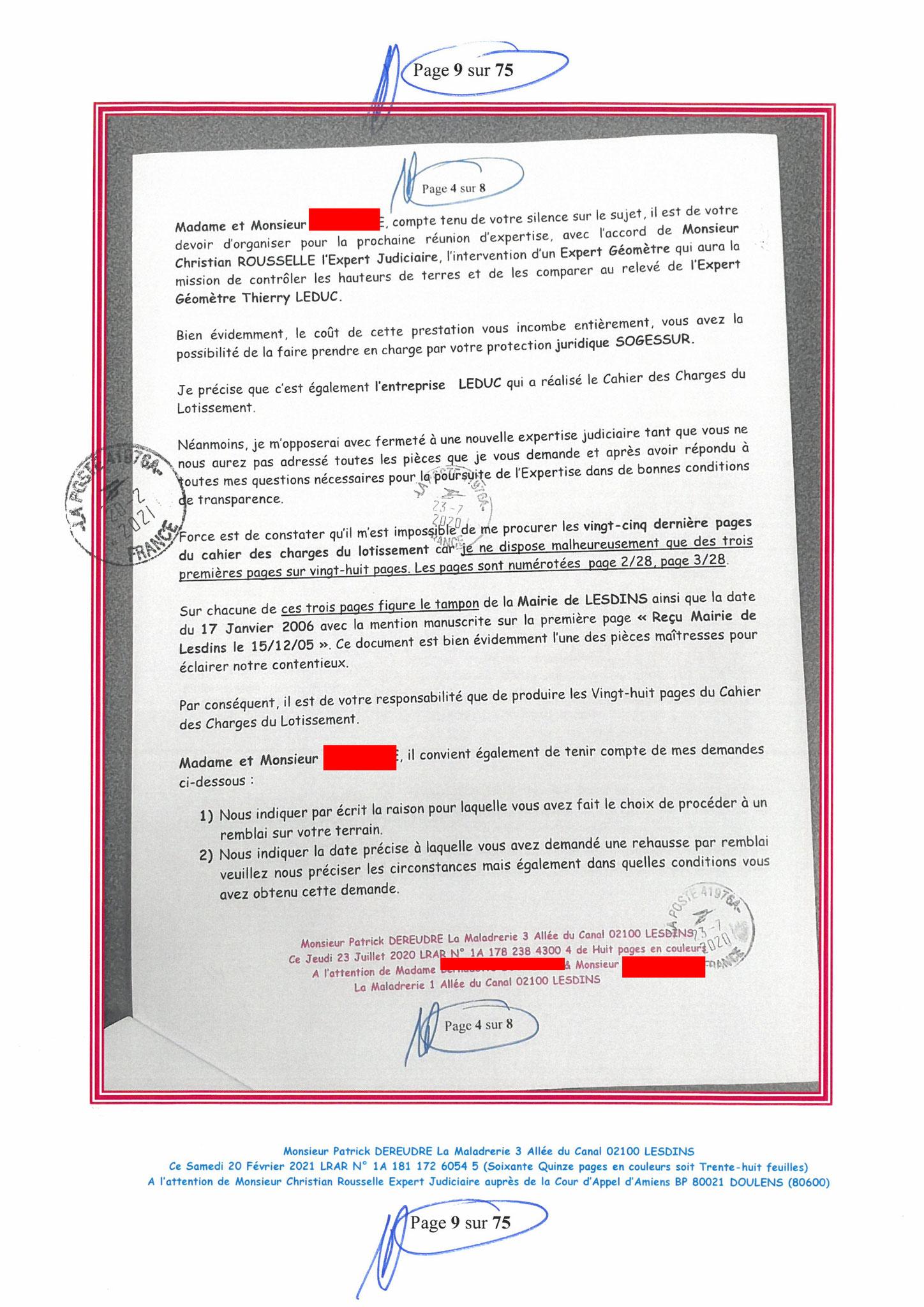 Page 9 Ma  Lettre Recommandée à Monsieur Christian ROUSSELLE Expert Judiciaire auprès de la Cour d'Appel d'Amiens Affaire MES CHERS VOISINS nos  www.jenesuispasunchien.fr www.jesuisvictime.fr www.jesuispatrick.fr PARJURE & CORRUPTION JUSTICE REPUBLIQUE