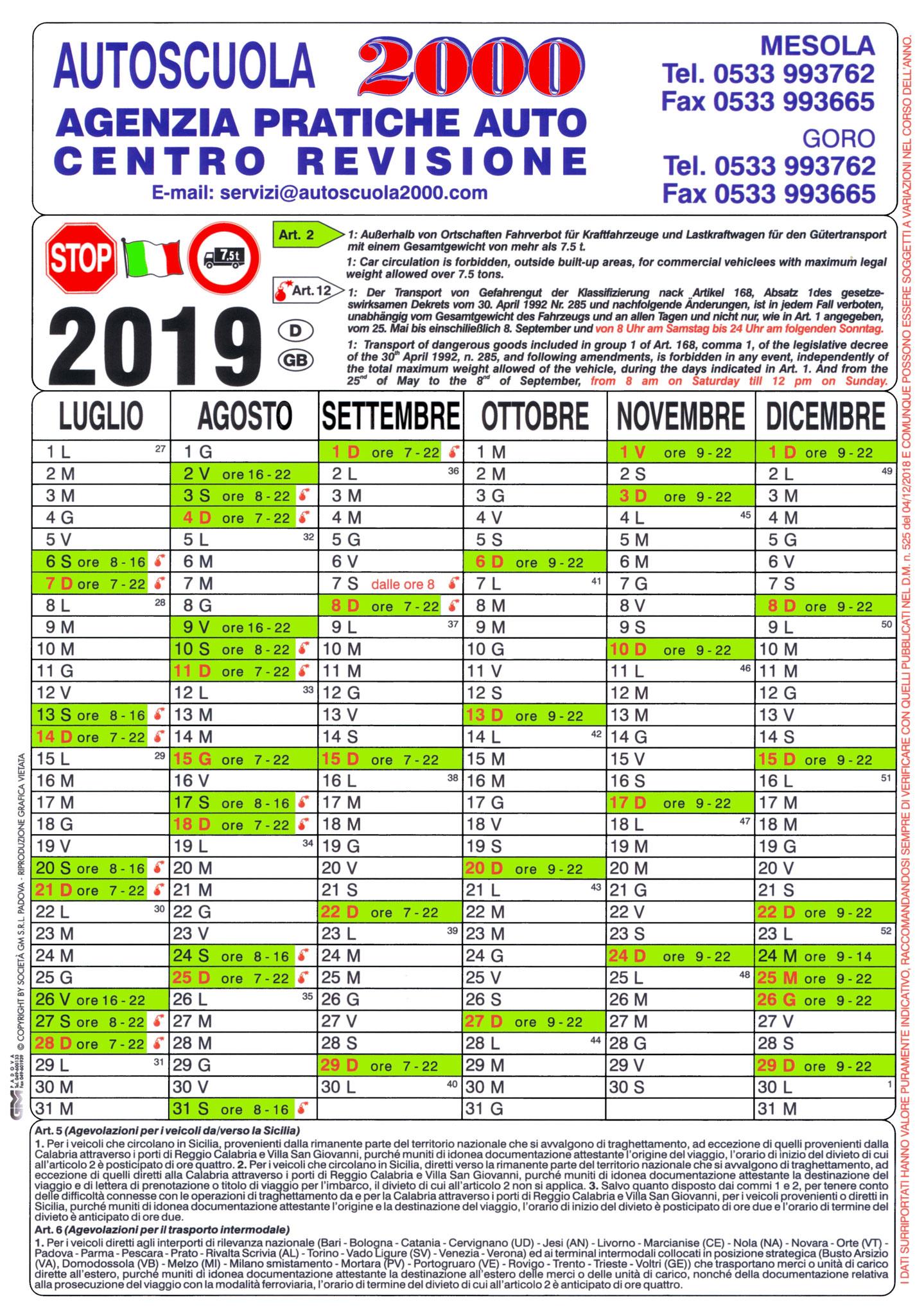 Calendario Divieto Circolazione Mezzi Pesanti.Calendario Divieti 2019 Benvenuti Su Aautoscuola2000