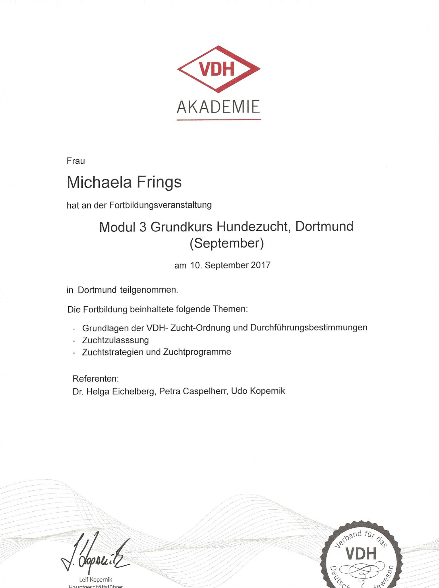 Kynologischer Basiskurs Modul 3 Hundezucht 09. September 2017