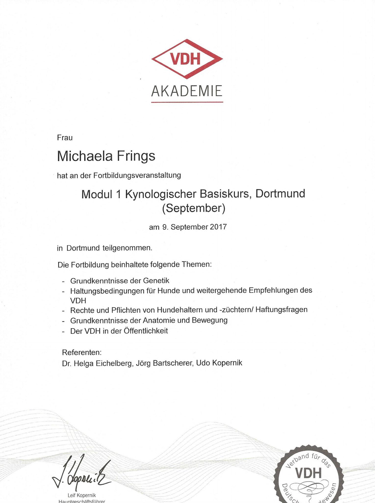 Kynologischer Basiskurs Modul 1 09. September 2017