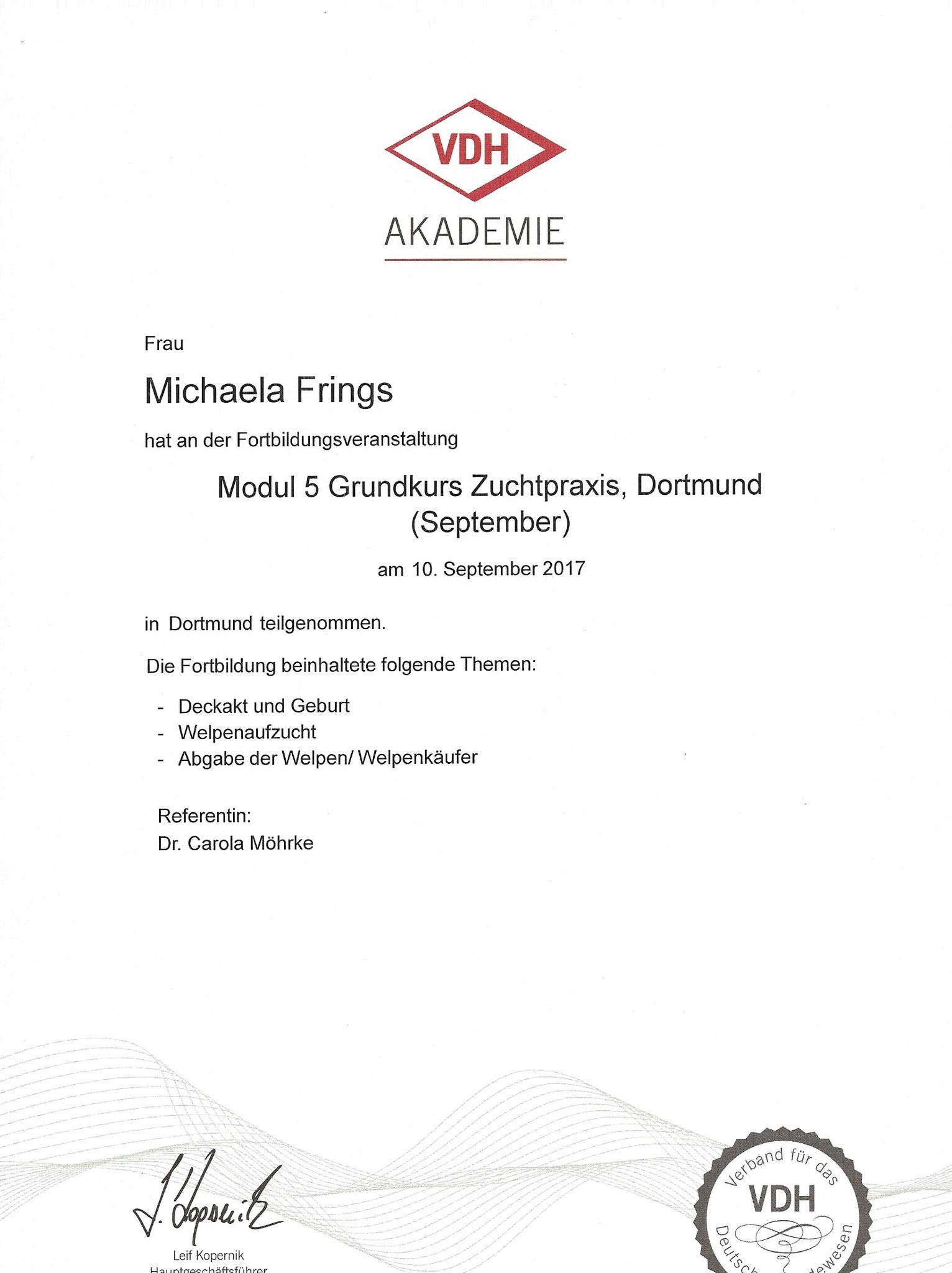 Kynologischer Basiskurs Modul 5 Zuchtpraxis 09. September 2017