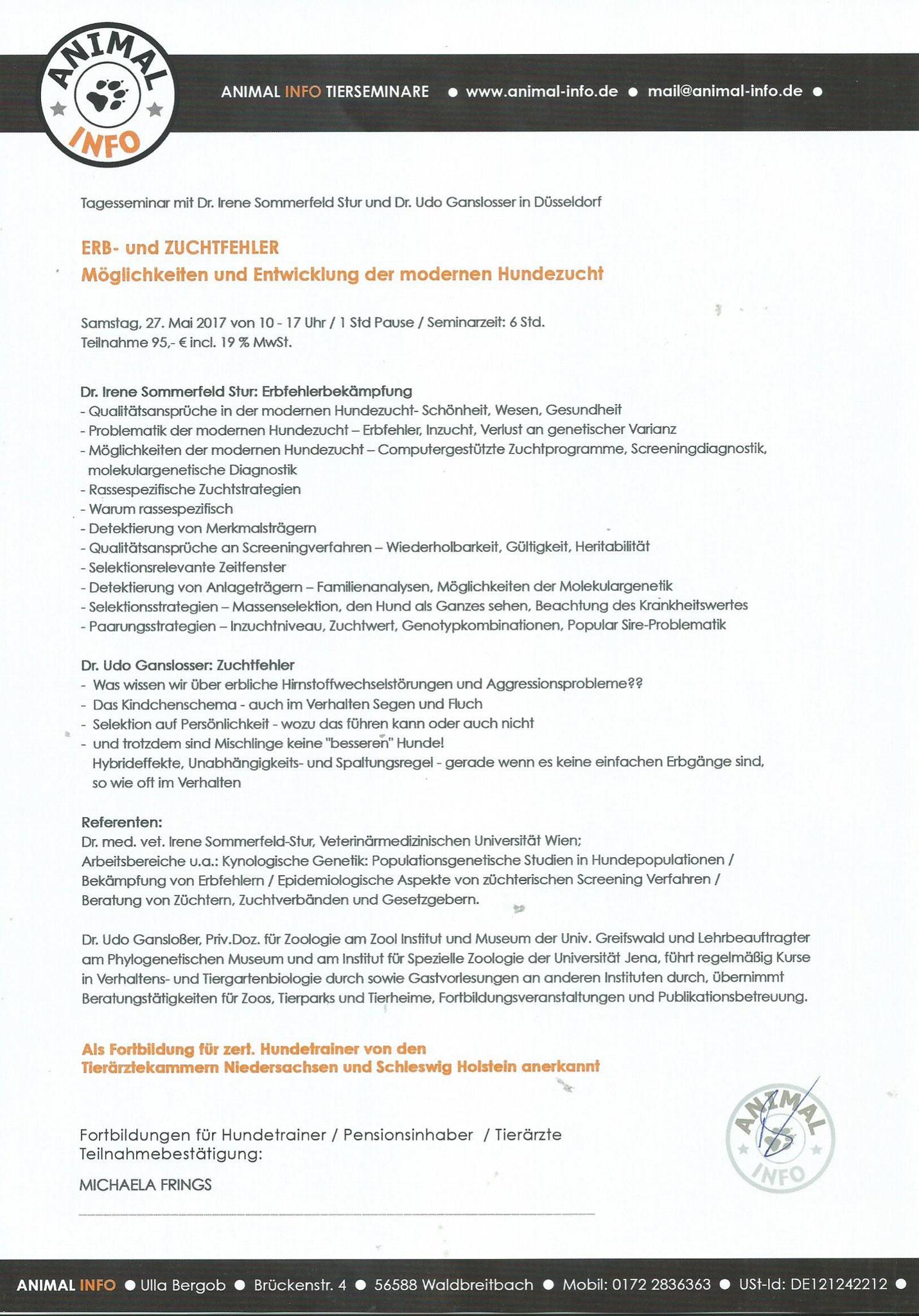 Erb- und Zuchtfehler 27. Mai 2017