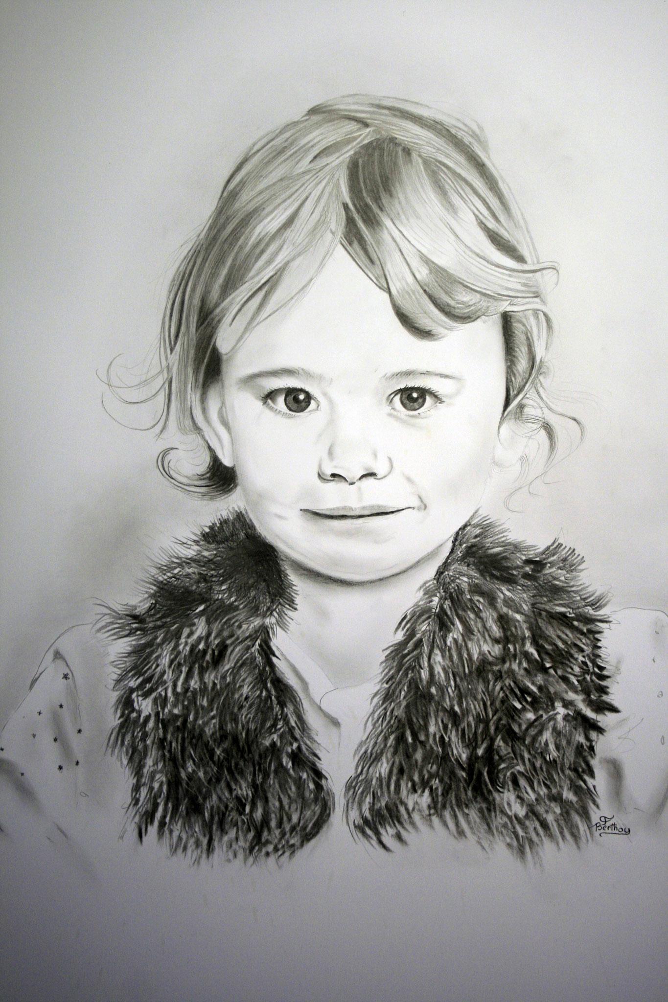 Zélie : crayon et fusain 70 cm x 90 cm