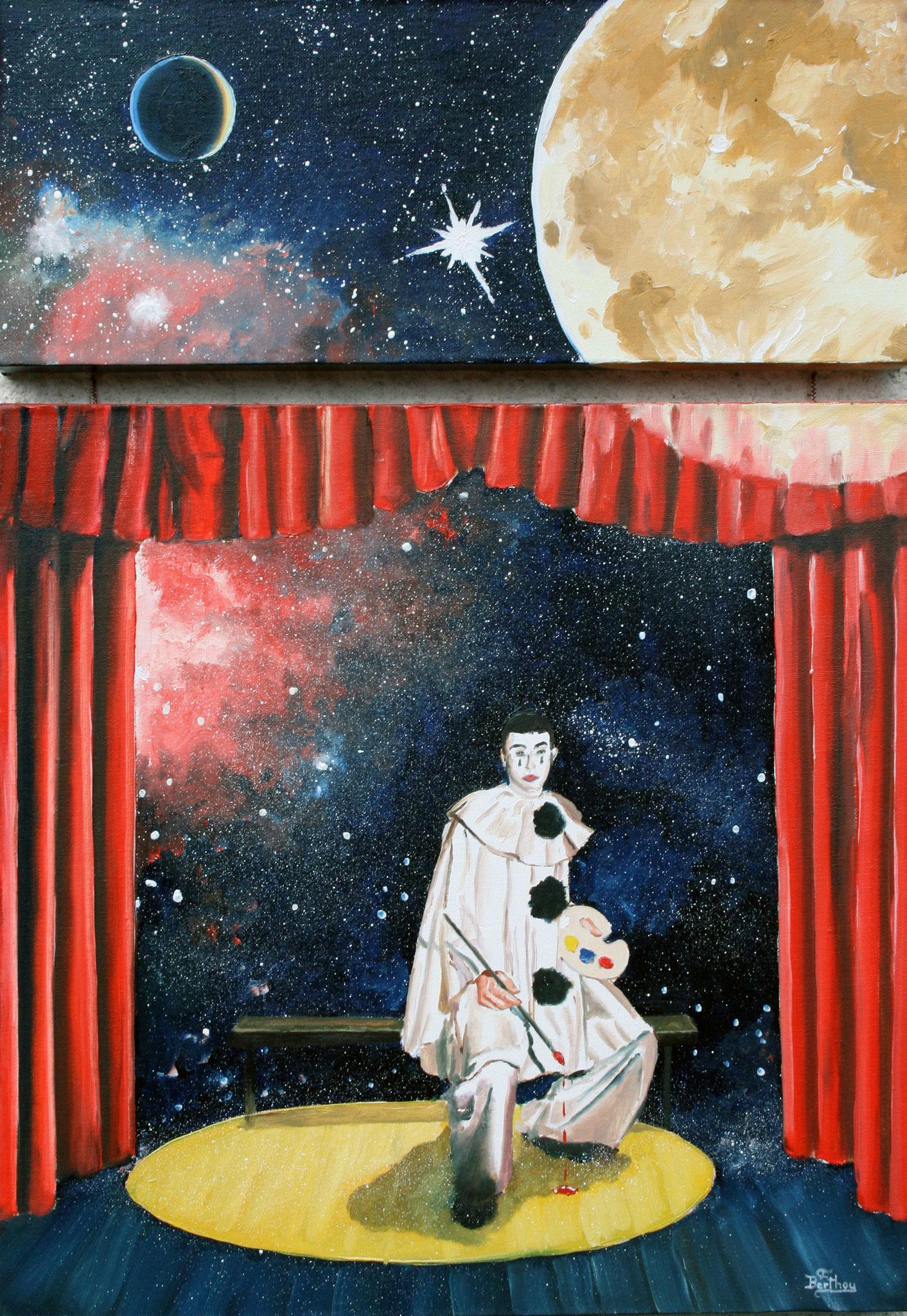 Pierrot  lunaire, deux toiles- 73 cm x 50 cm