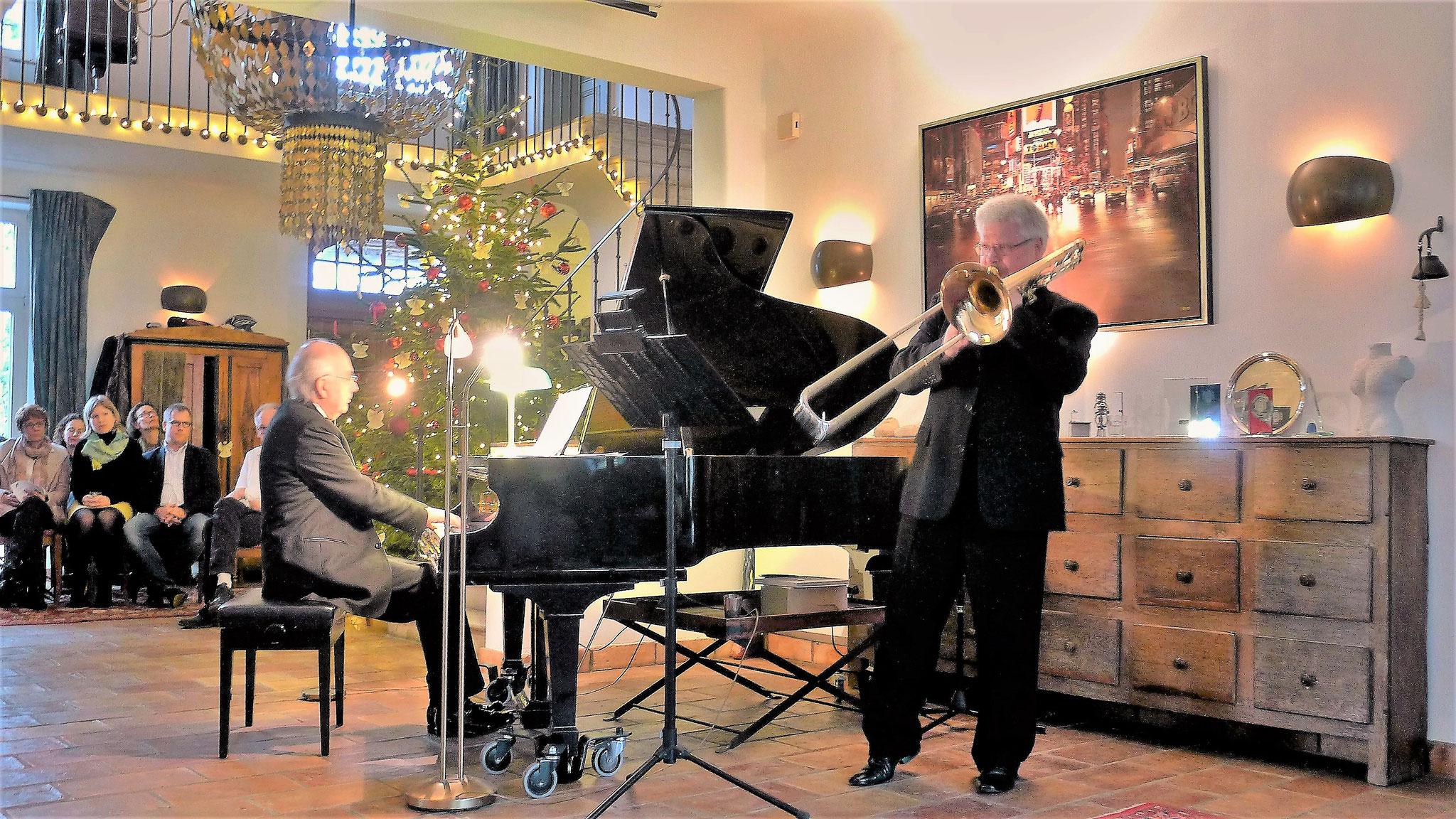 """Thomas Lindt & Betin Günes bei der Uraufführung der """"Elegie"""" für Posaune und Klavier von Günes"""