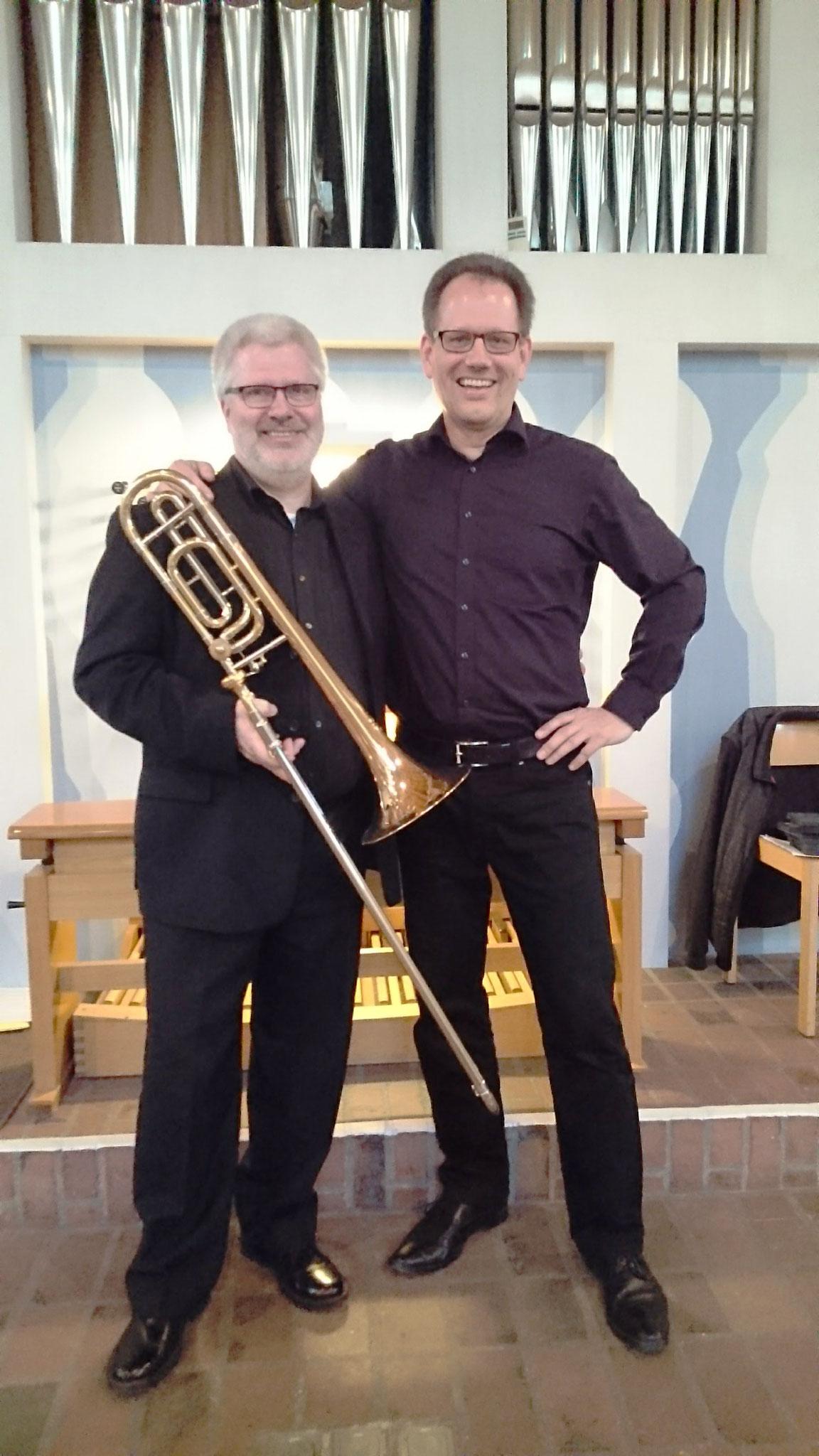 Thomas Lindt und Guido Harzen nach einem Konzert mit Orgel + Posaune und Alphorn 2017 in Neuss