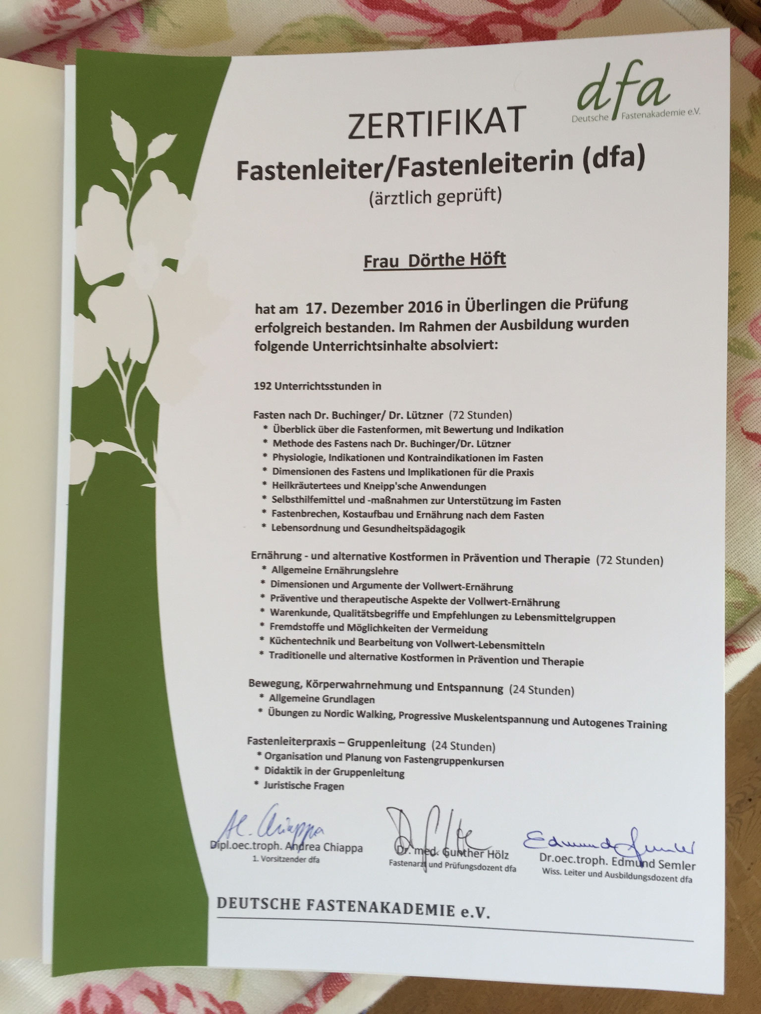 Zertifikat zur Fastenleiterin