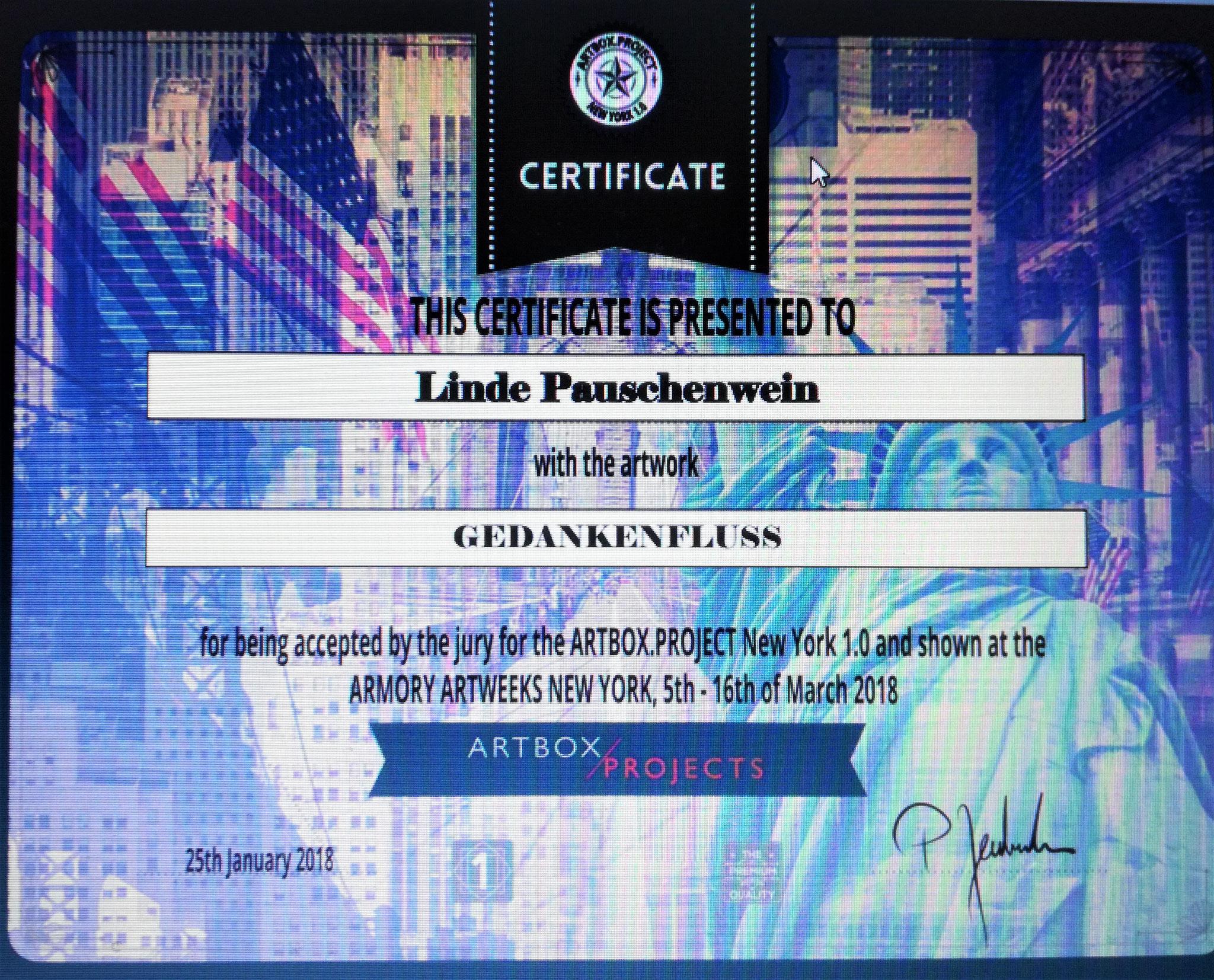 Zertifikat für Ausstellung in New York