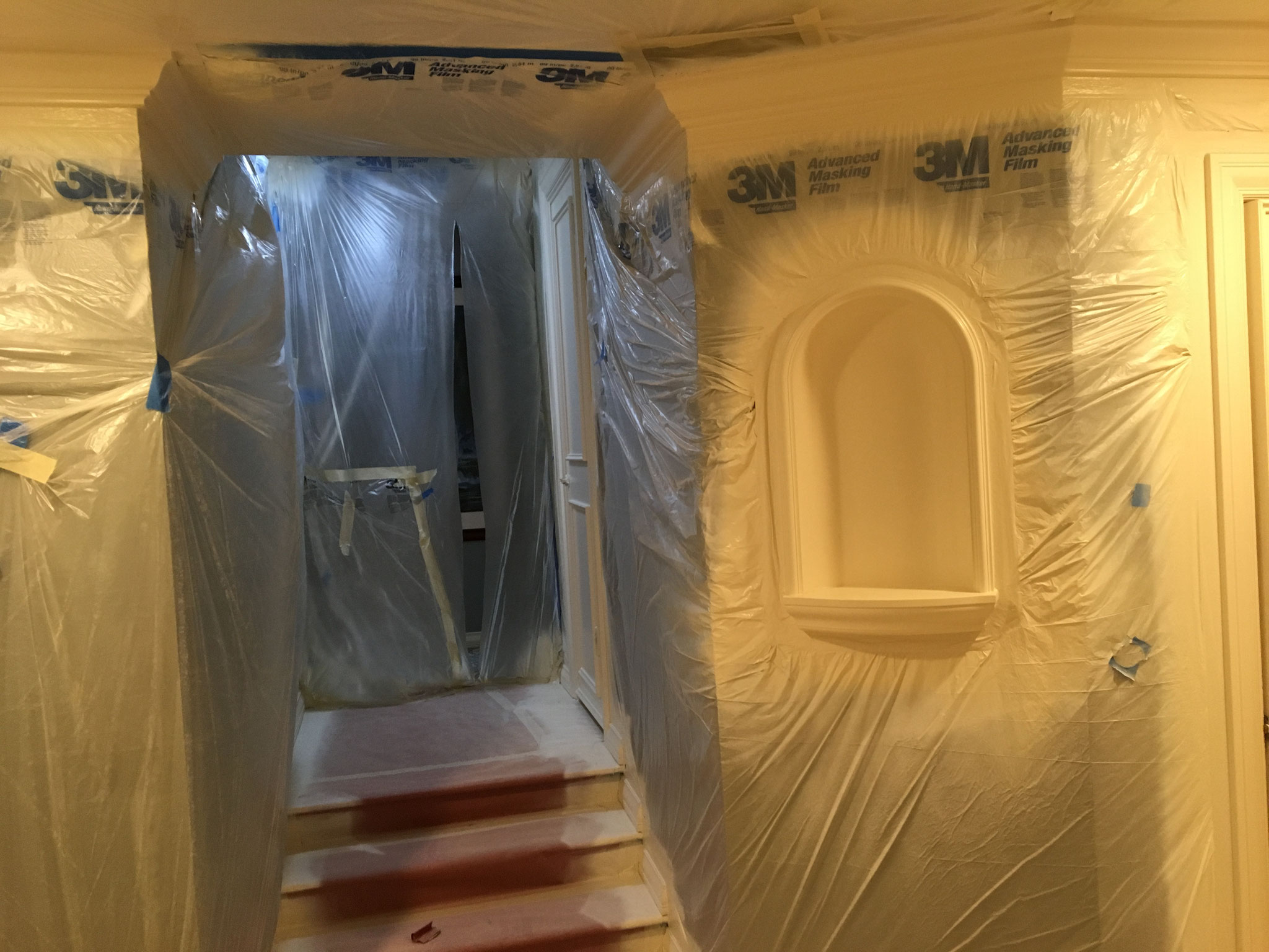 Just the white woodwork gets sprayed.