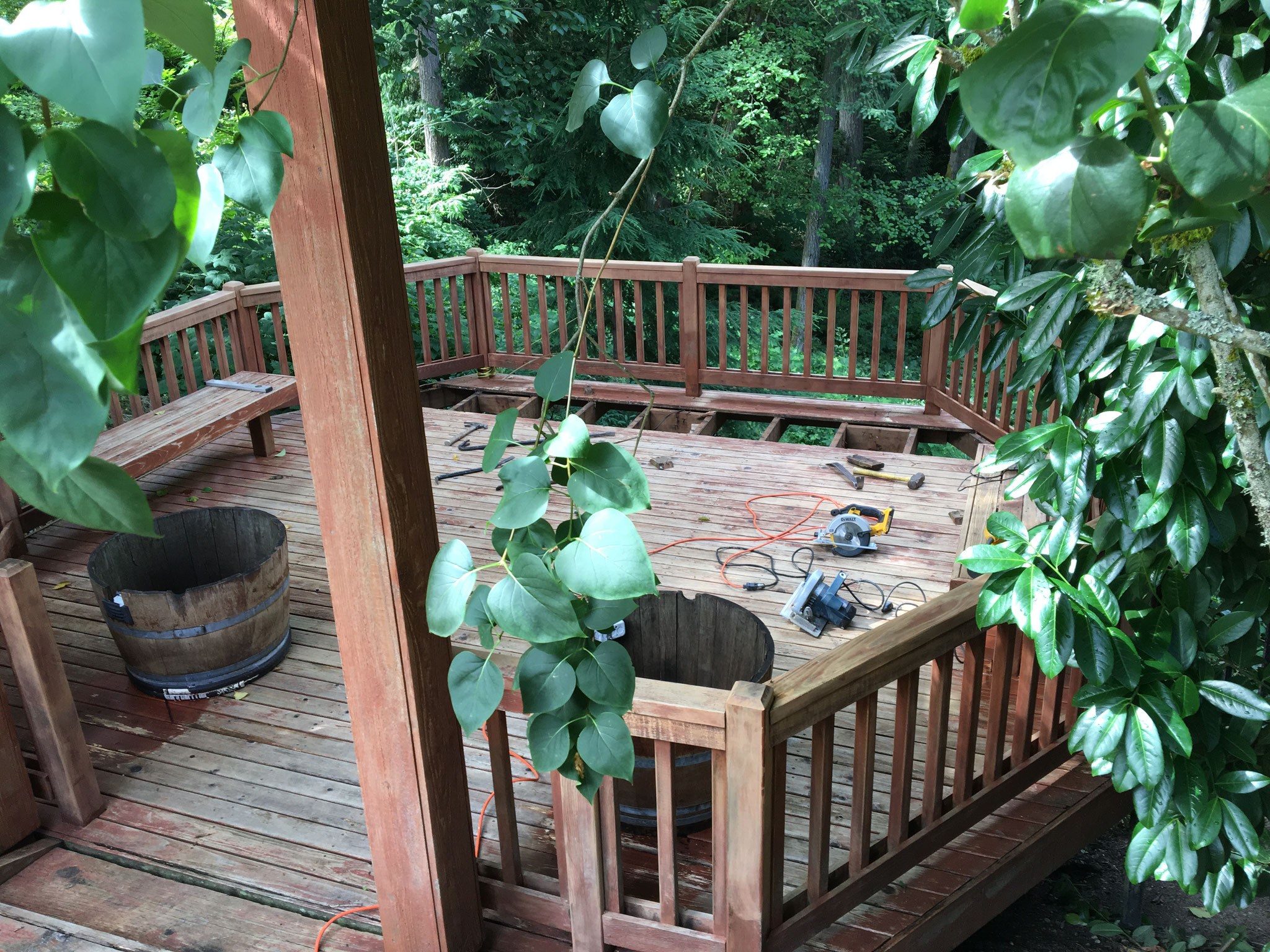 Starting to replace this deck...lots of rot and unsafe boards.