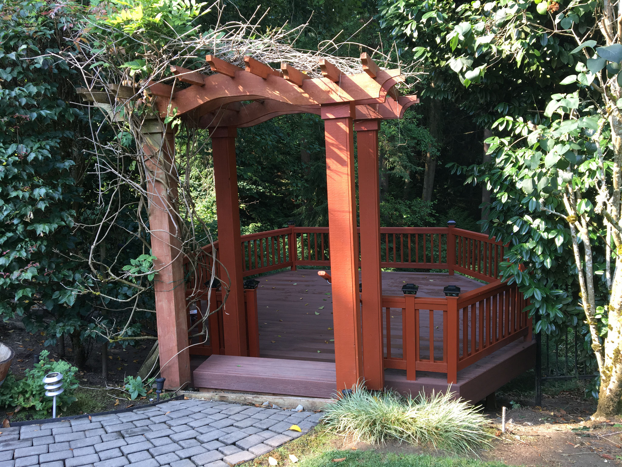 Finished new deck and arbor - spectacular!