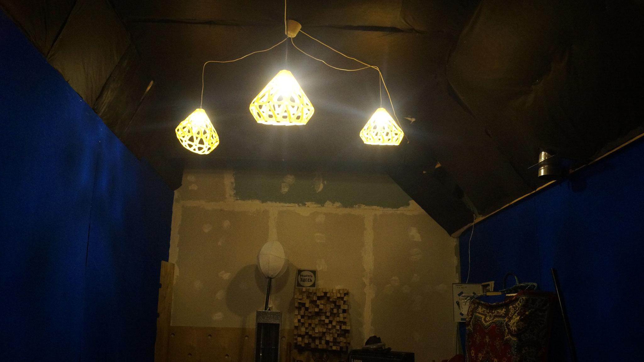 Войлочная желтая люстра ZAHA LIGHT на студии!